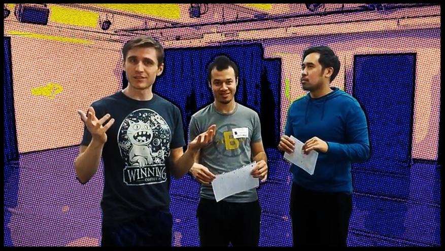 Quinn Rol, Ollie Corchado, and Phil Estrera in rehearsal.