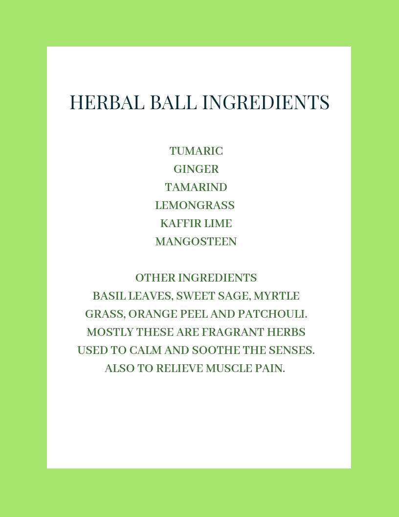 Herbal ball ingredients.