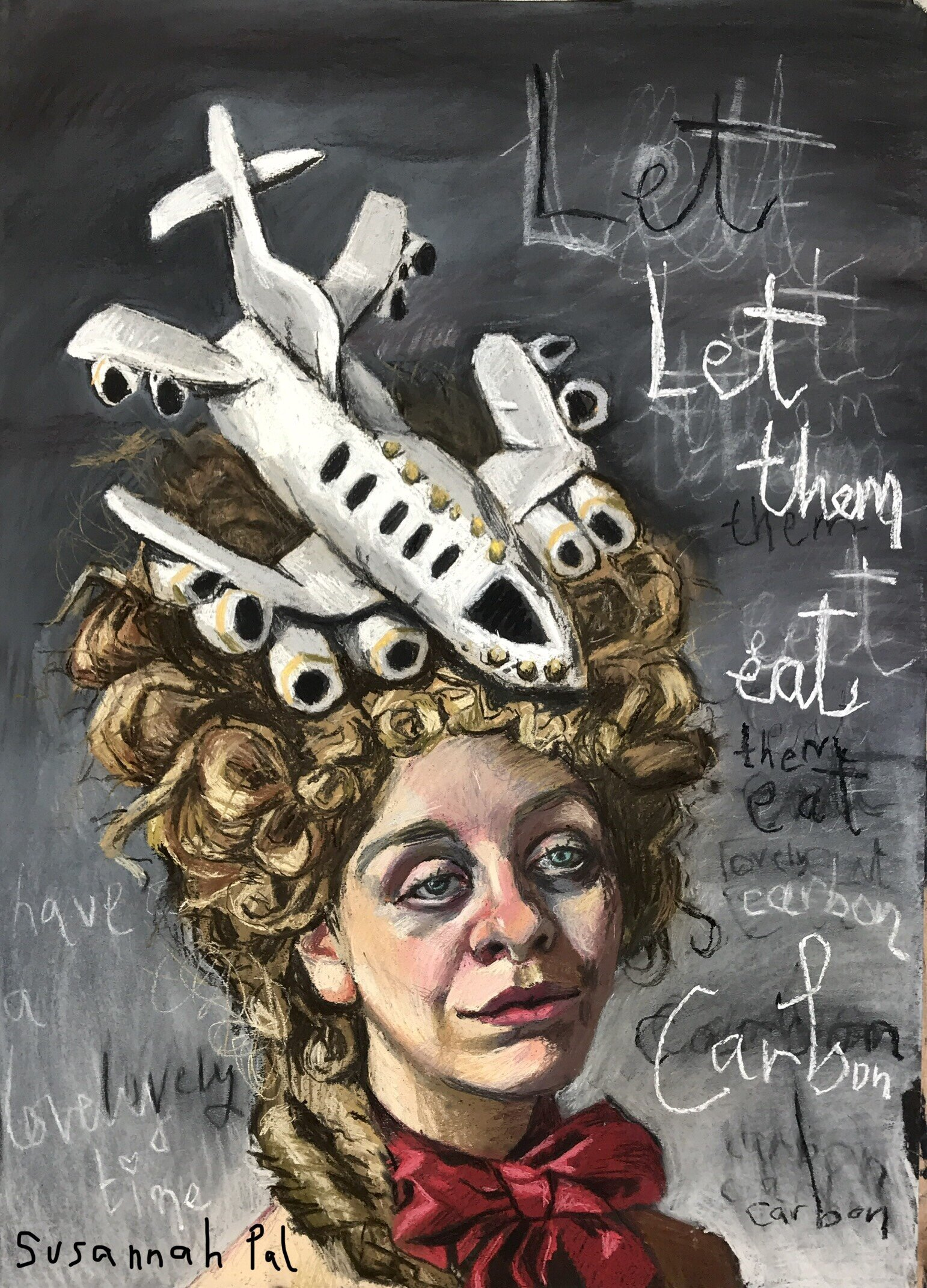 'Let them eat carbon!' A piece I have wanted to do for years. How can we compare our modern lives to that of Versailles? Are we aware of the impact of our actions? (Context, it was fashionable for women contemporary to Marie Antoinette to wear ships on their heads.). Really enjoying the various campaigns to encourage people to fly less, like  Flight Free 2020.  I believe that by making it a fun pledge and seeking alternatives makes the transition a positive challenge rather than a dismal loss!