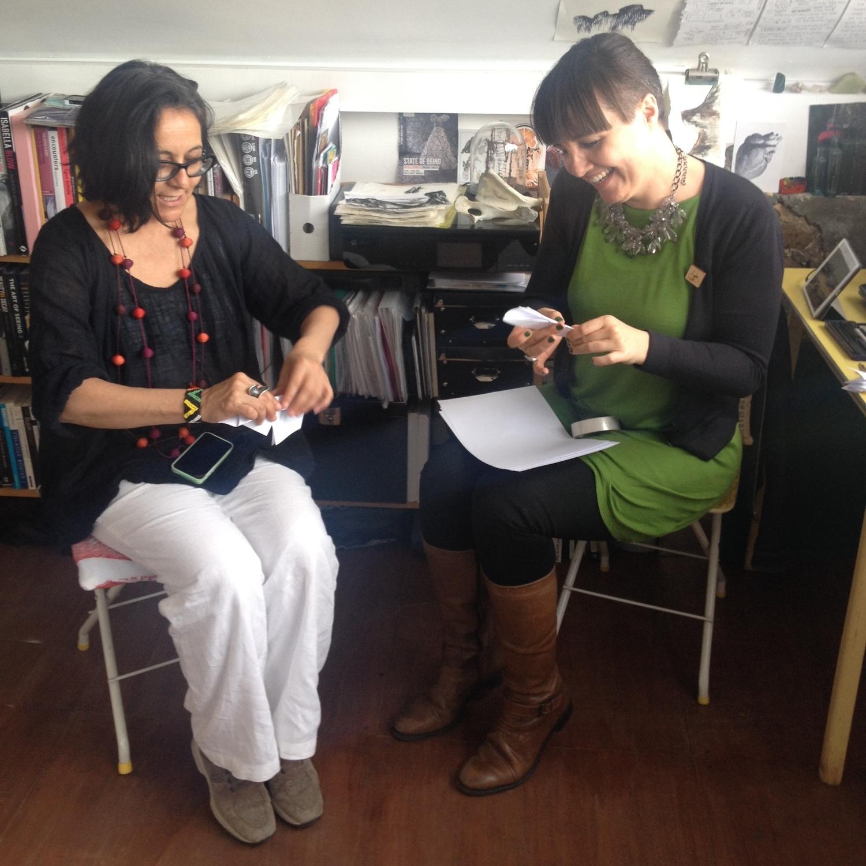 Choua & Liz sculpting paper