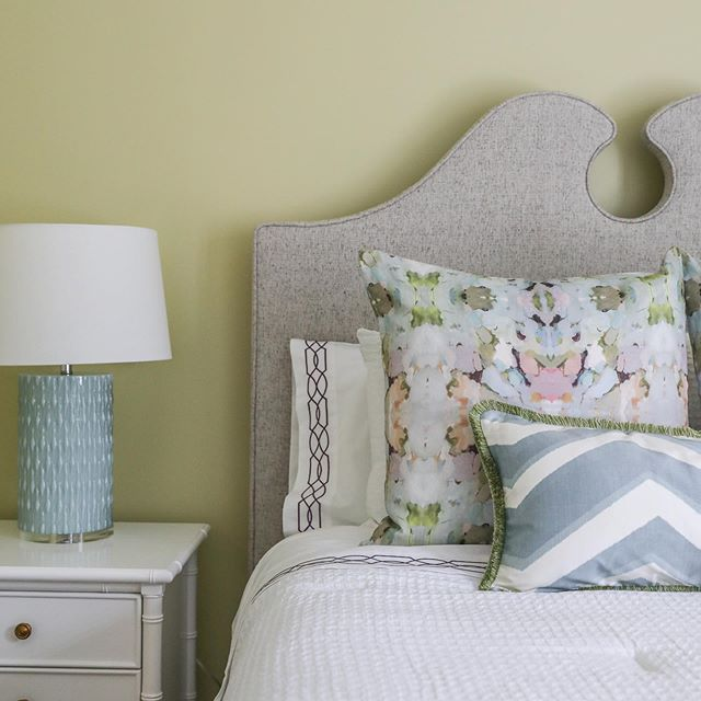 One thing we're known for at #RaeLazenbyInteriors is our love of color! But color doesn't have to always mean BRIGHT or be limited to just a pop. We love to wash rooms in soothing colors, especially in a bedroom, like we did here in our #MagnoliaPl #guestroom. Swipe right for some of our favorite happy yet serene paint picks. Also, check out our stories for a behind the scenes look at this shoot from last month. Tag us if you use one of these colors in your room! #bedroom #interiordesign #mobilealabama
