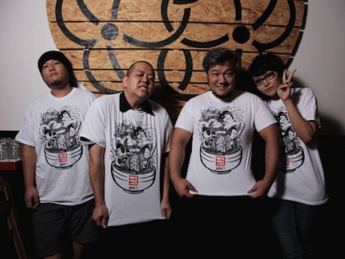 ramen tatsu-ya family wearing t-shirt designed by briks.