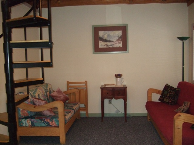 Comfy couches for relaxing in the Cozy Cabin. 406-226-9227.