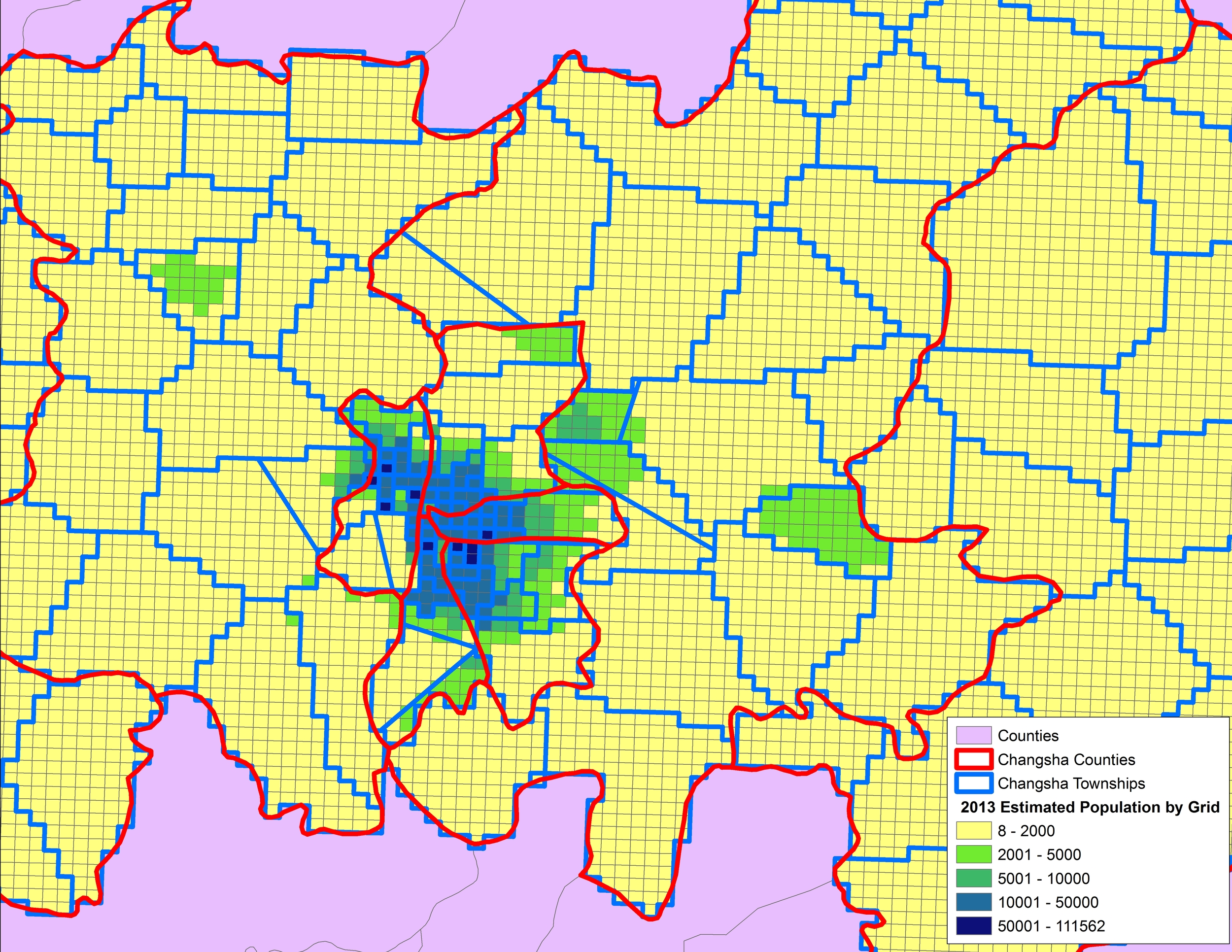 2013 Estimated Population by 1 km sq Grid