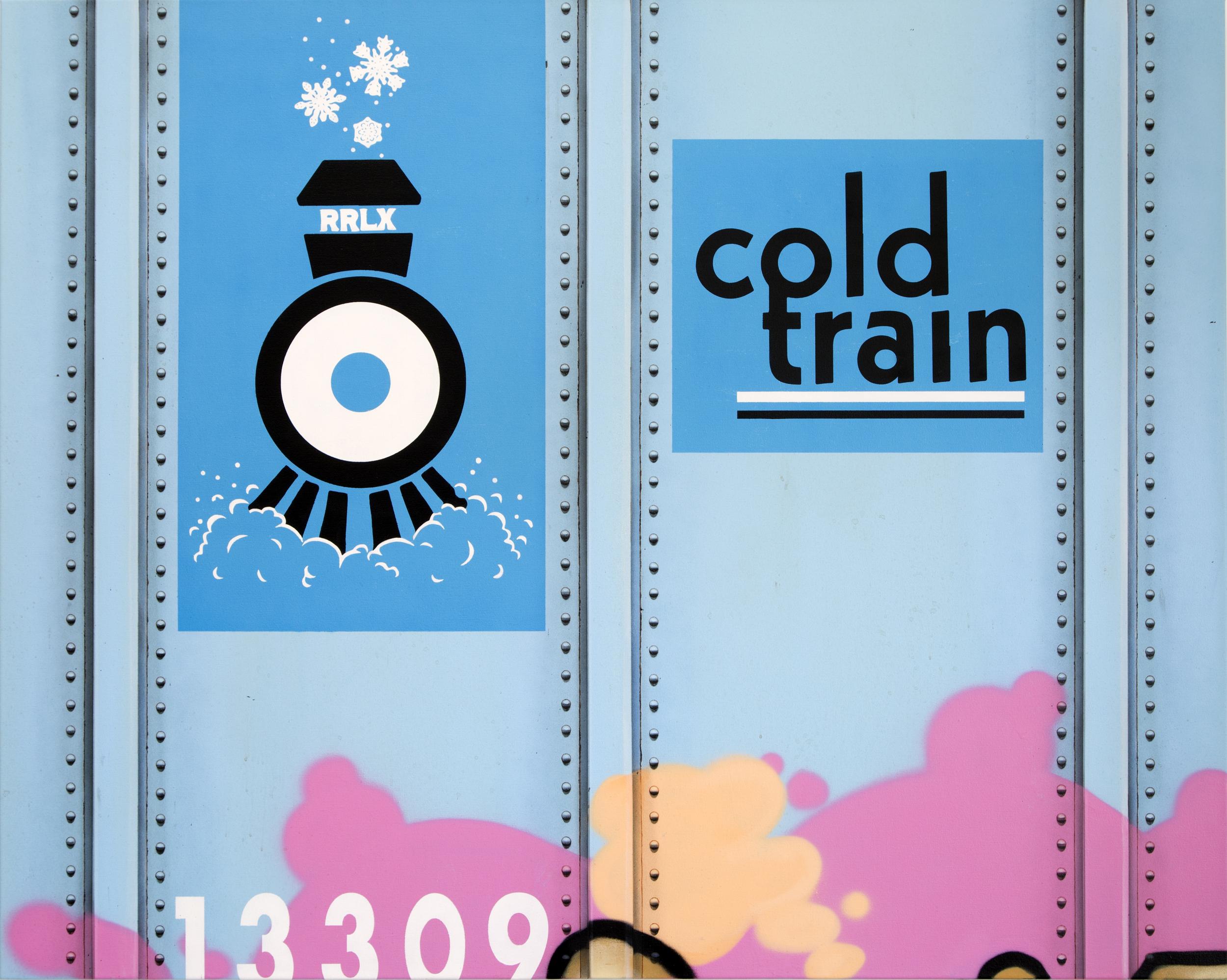 Blank Canvas #43 – Cold Train, Freight Train Painting, Boxcar Painting, Railroad Art, Tim Conlon Art