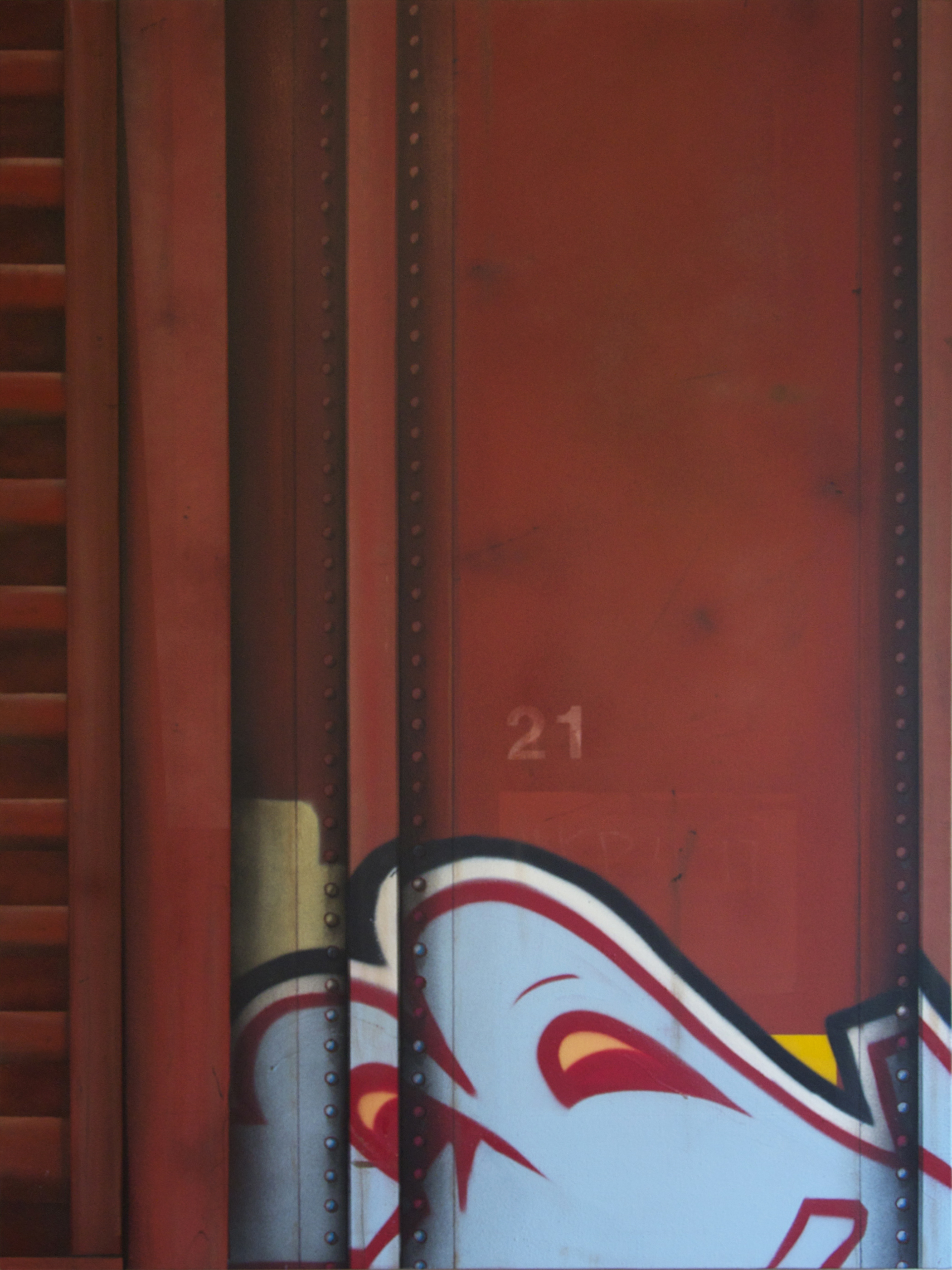 "Blank Canvas #8 – CN ""21"", Freight Train Painting, Boxcar Painting, Railroad Art, Tim Conlon Art"