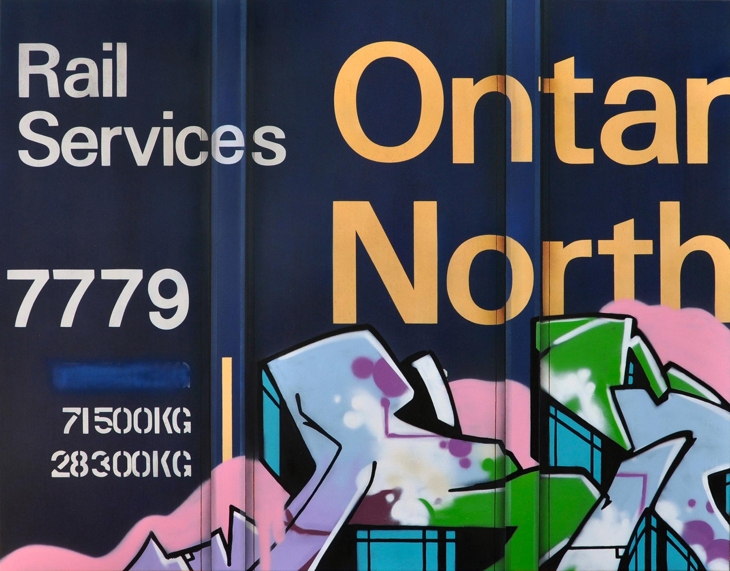 Blank Canvas #75 - ONT, Freight Train Painting, Boxcar Painting, Railroad Art, Tim Conlon Art