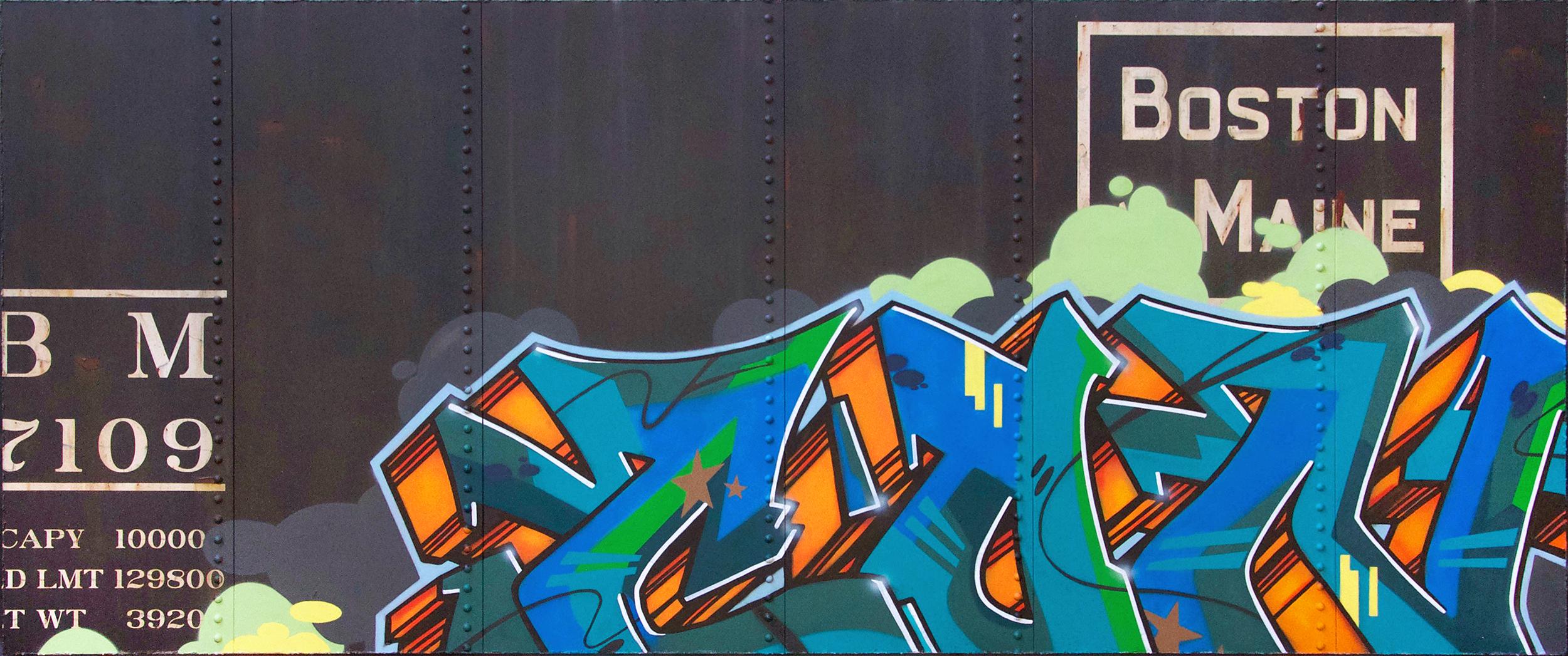Blank Canvas #78 - Boston & Maine, Freight Train Painting, Boxcar Painting, Railroad Art, Tim Conlon Art