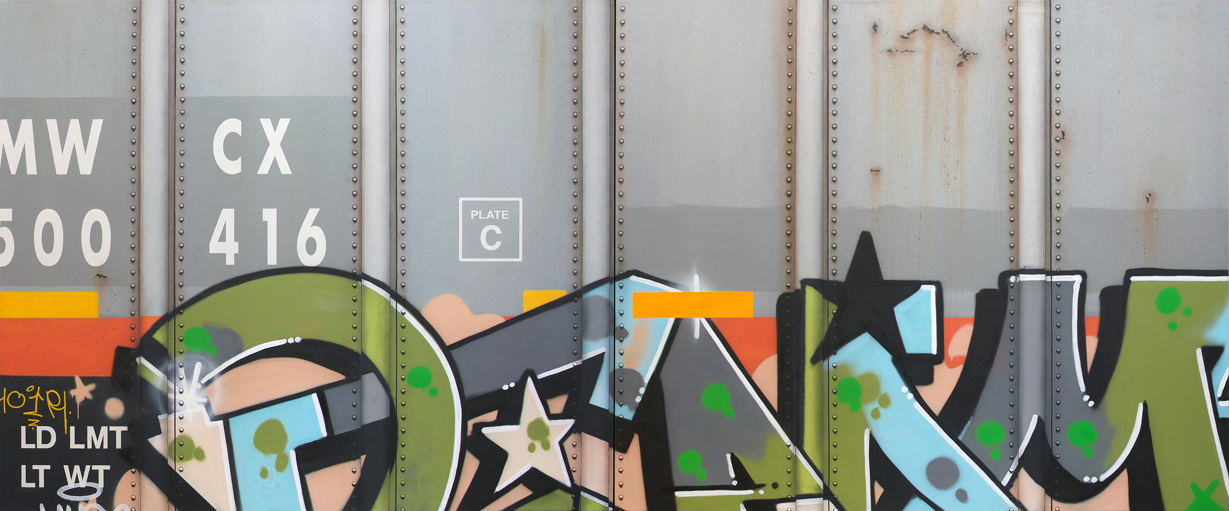 Blank Canvas #82 & 83 - MWCX, Freight Train Boxcar Painting, Tim Conlon Art