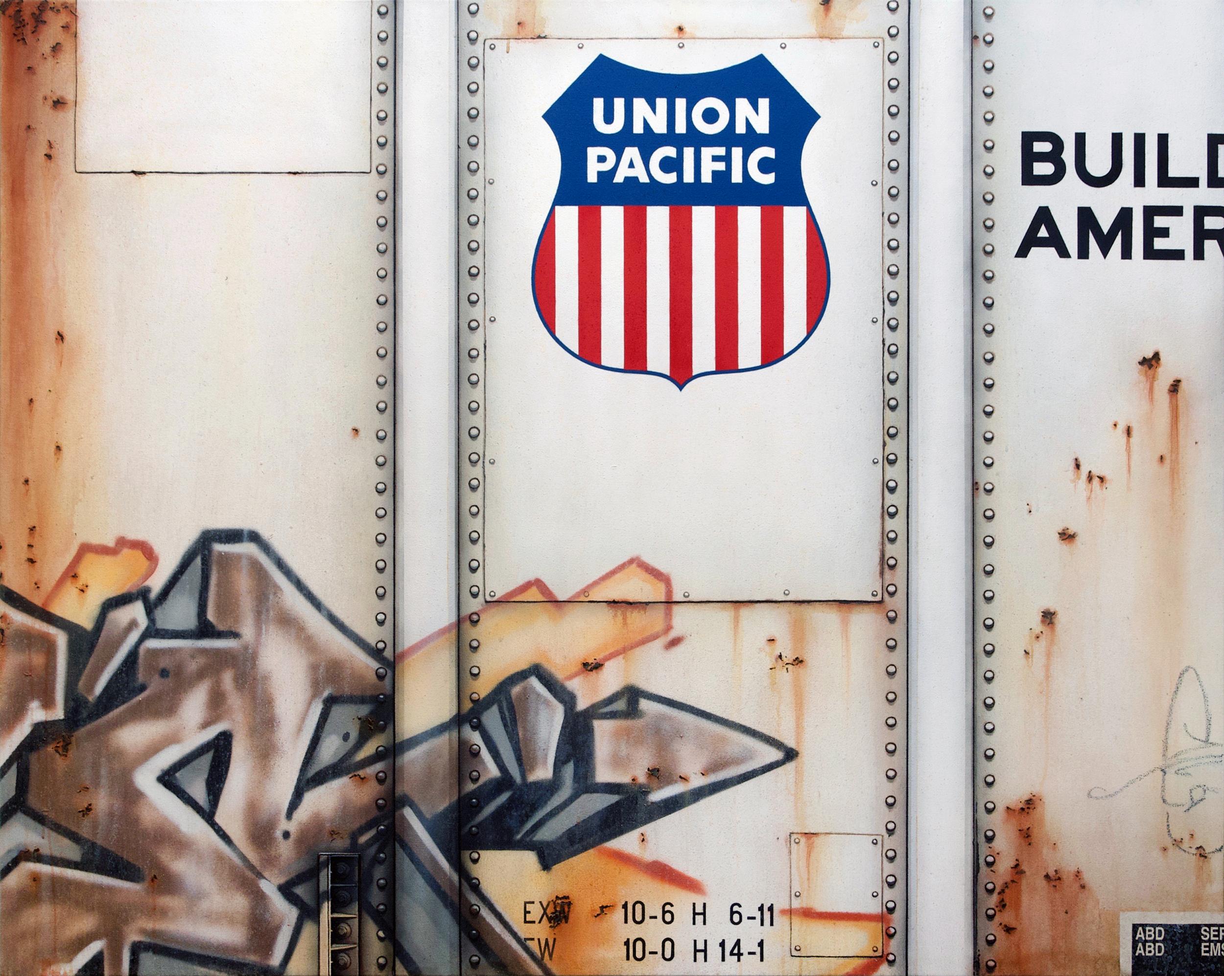 Blank Canvas #84 - UP, Freight Train Boxcar Painting, Tim Conlon Art