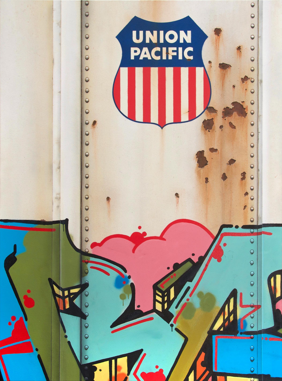 Blank Canvas #96 - UP, Freight Train Painting, Boxcar Painting, Railroad Art, Tim Conlon Art