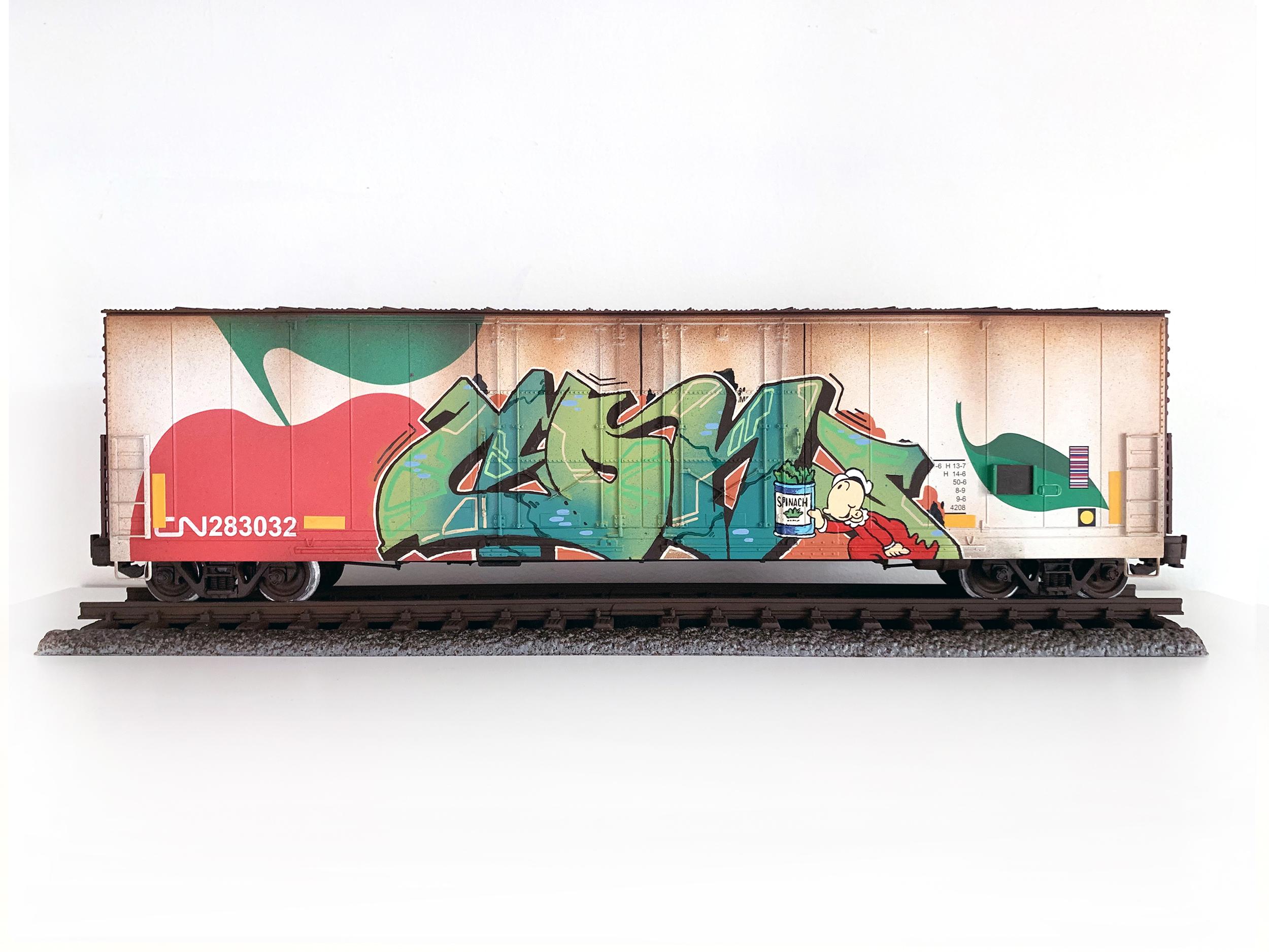 CN #37, G Scale Train, Freight Train Graffiti, Boxcar Art, Railroad Art, Tim Conlon Art