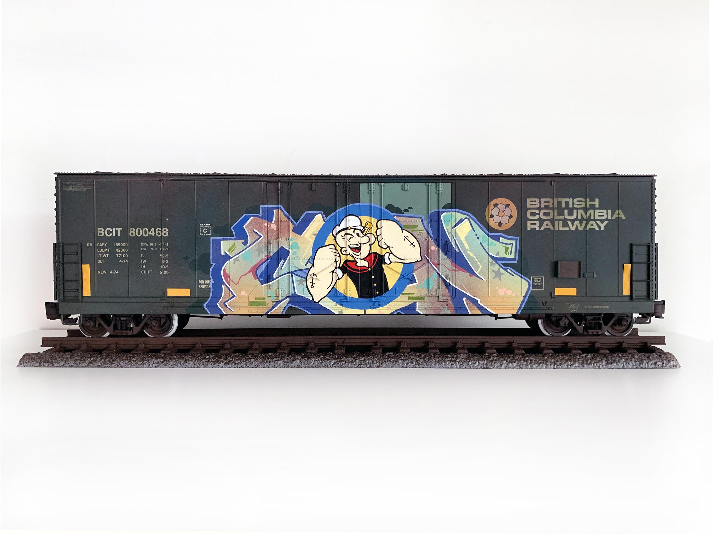 BCIT #6, G Scale Train, Freight Train Graffiti, Boxcar Art, Railroad Art, Tim Conlon Art