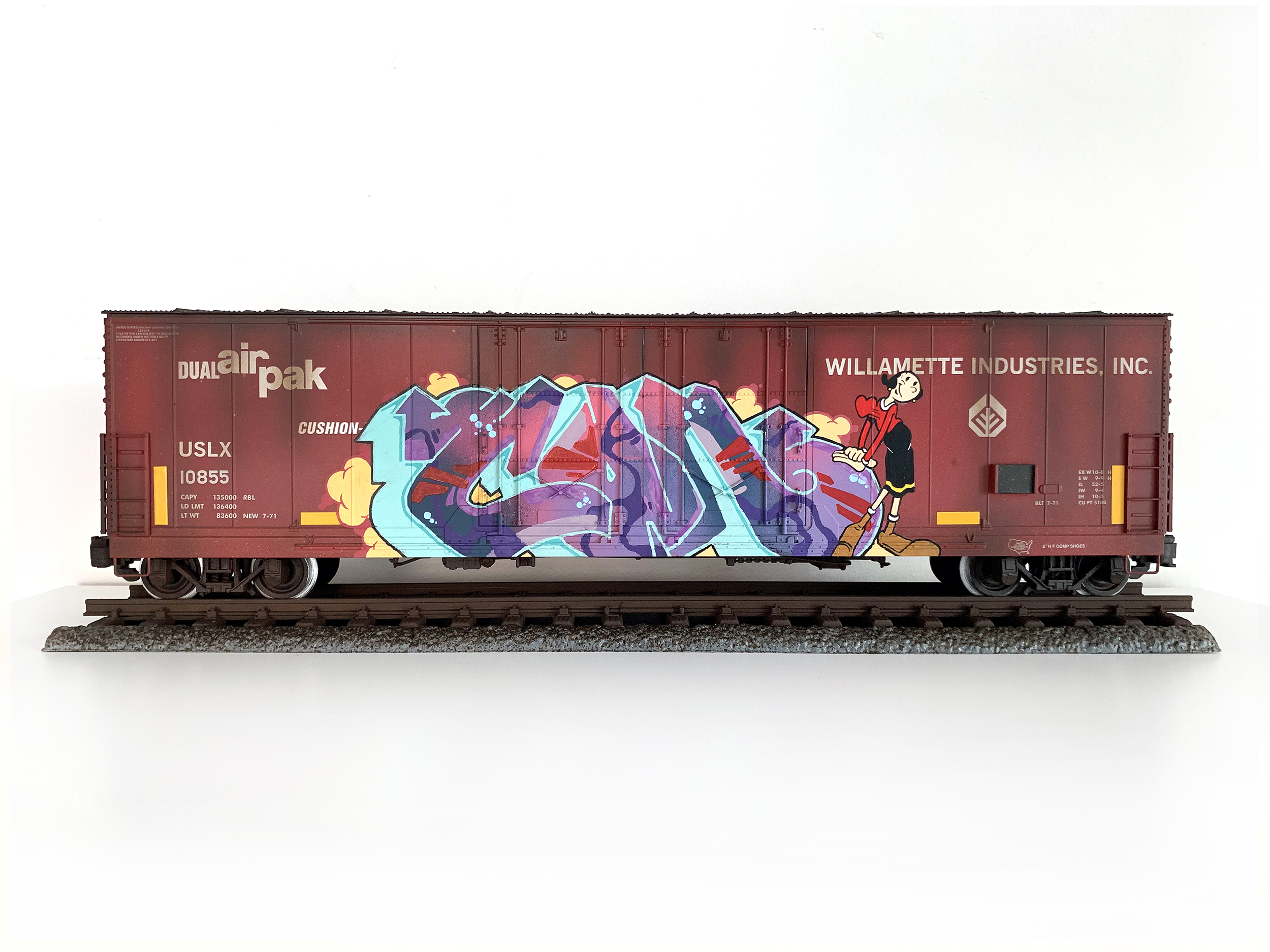 USLX #8, G Scale Train, Freight Train Graffiti, Boxcar Art, Railroad Art, Tim Conlon Art