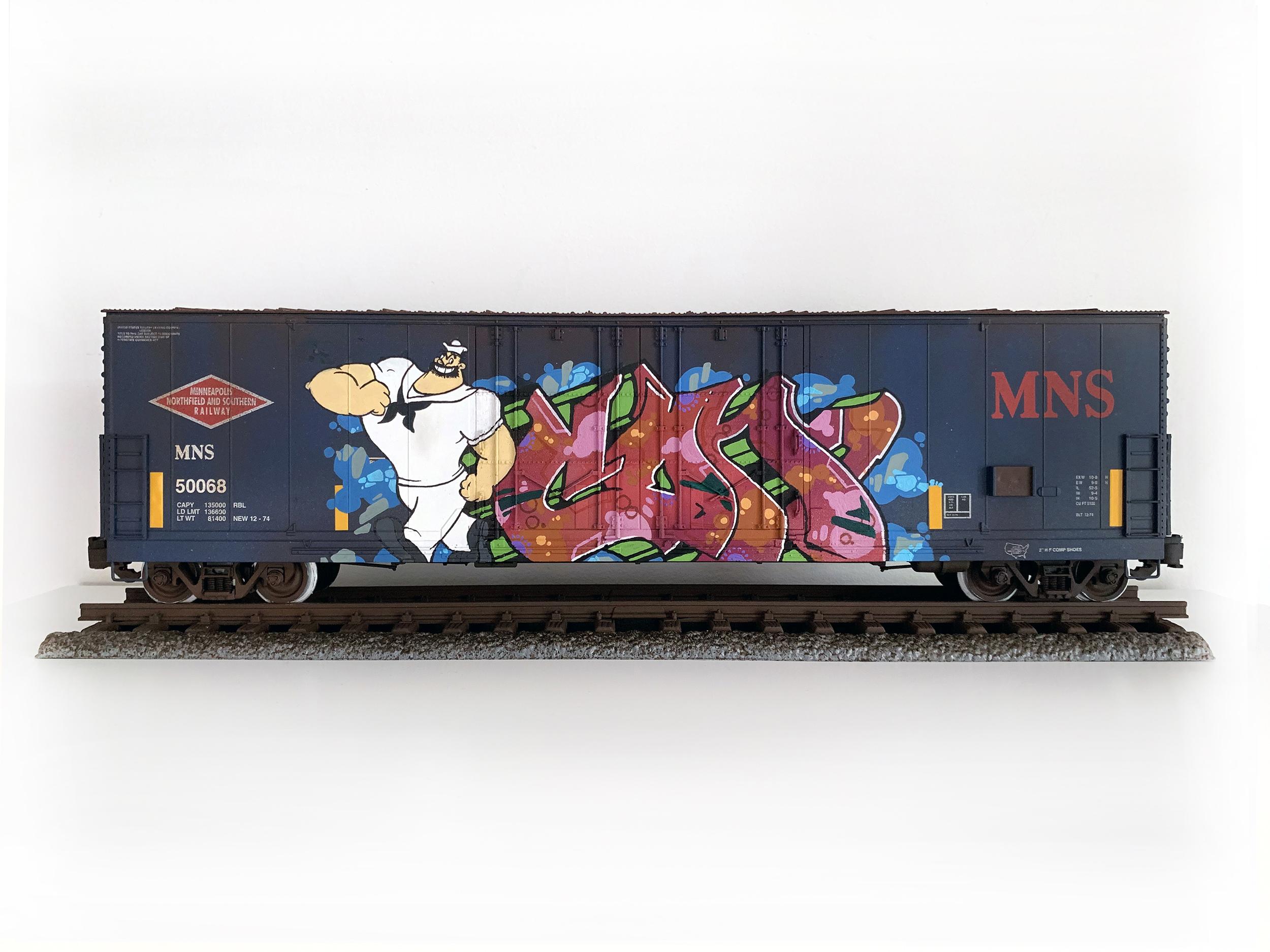 MNS #7, G Scale Train, Freight Train Graffiti, Boxcar Art, Railroad Art, Tim Conlon Art