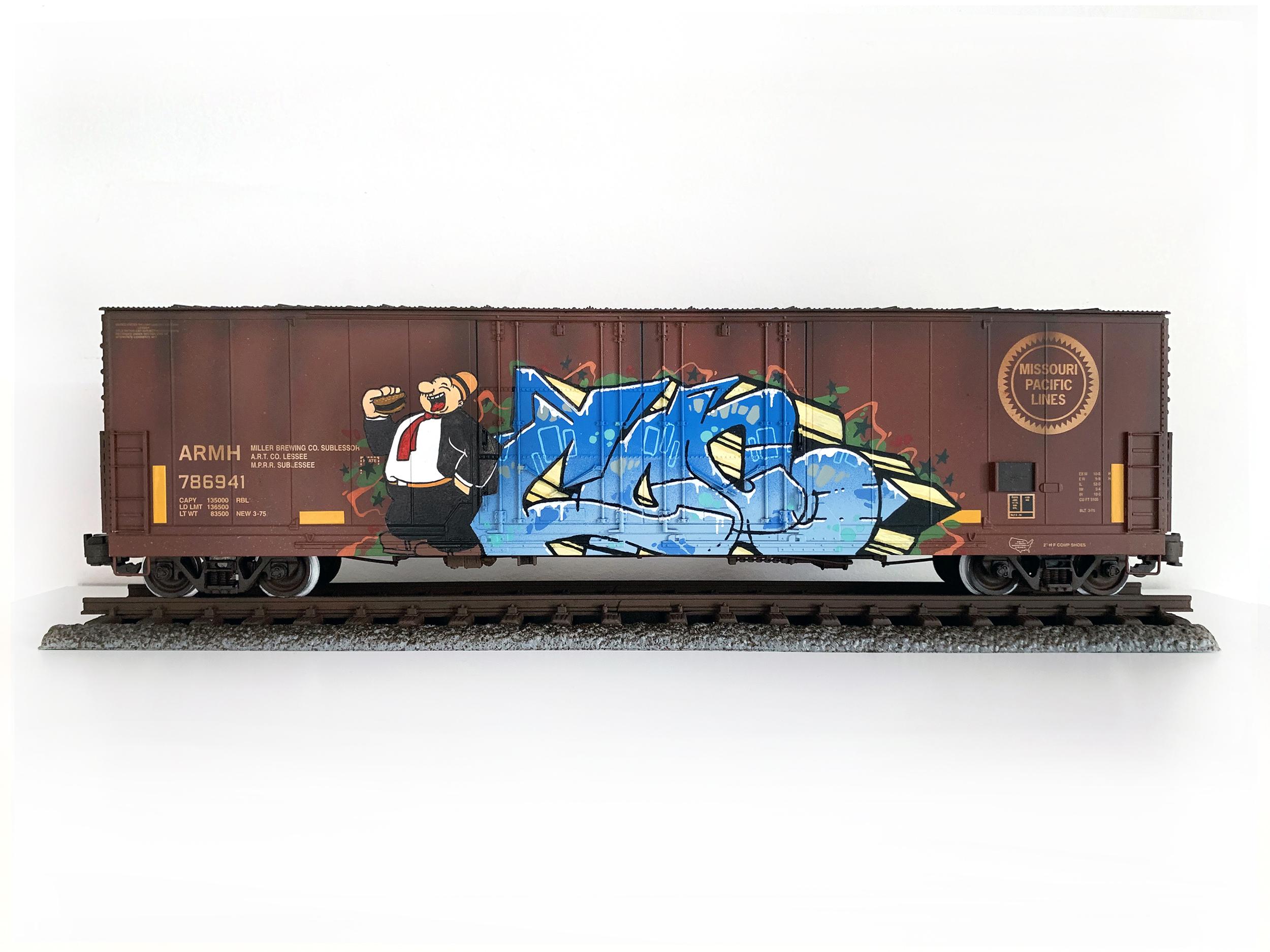 MP #6, G Scale Train, Freight Train Graffiti, Boxcar Art, Railroad Art, Tim Conlon Art