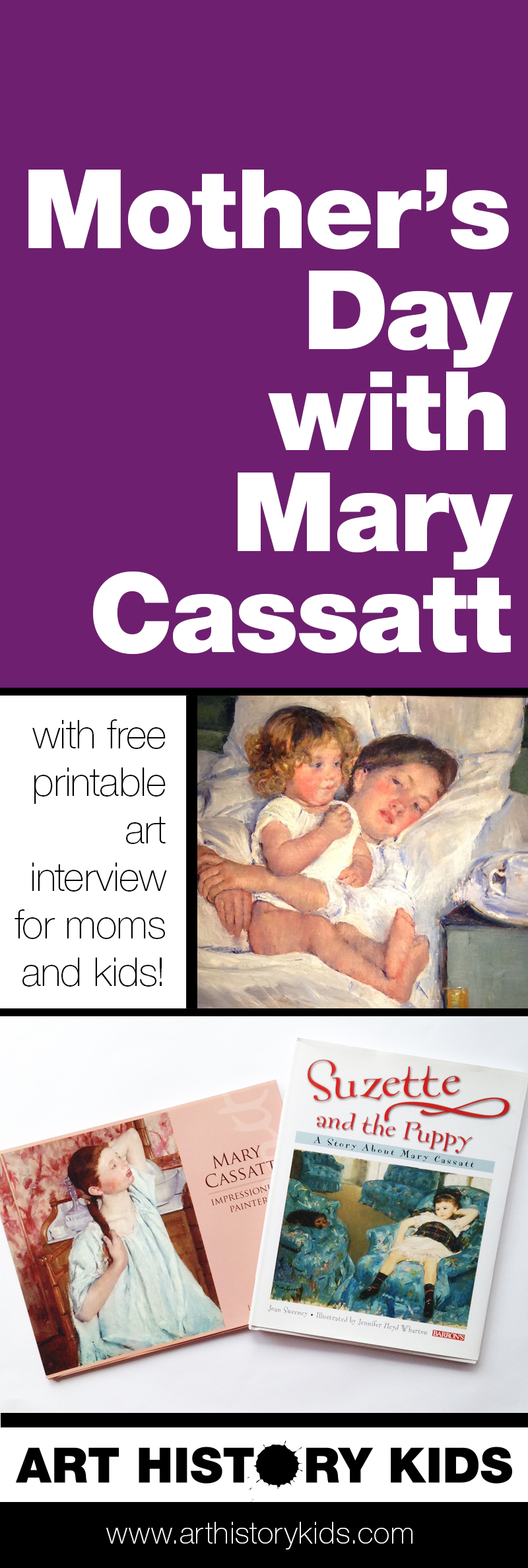 Spend some time together this Mother's Day doing this fun art project inspired by Mary Cassatt! Kids will read (or hear) about her art and life, and then paint a memory of their most loving time together with their Mom. Includes a fun FREE printable interview to keep with the painting. It would be a great art lesson to repeat each year, and have a whole collection of them later on!