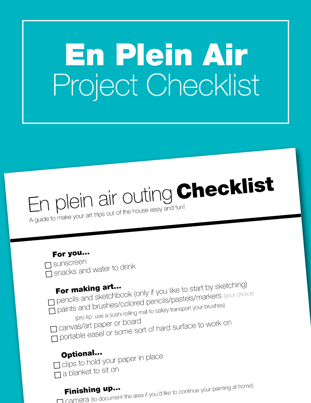 Enjoy a day of painting outdoors with your kids. This checklist will guide you through all the things you'll need to make your day fun and stress-free. En plain air painting is a great way to unwind, enjoy nature, and get creative.