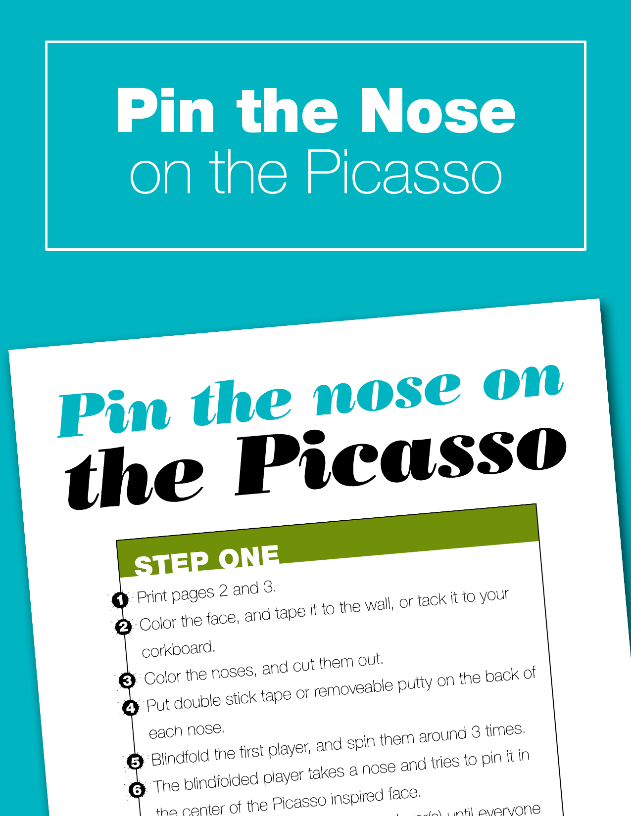 Play Pin the Nose on the Picasso with your kids. It's a fun art history game you can play as part of a Picasso study, or just for fun. Everything is included in the printable, just cut it out, color, and play!