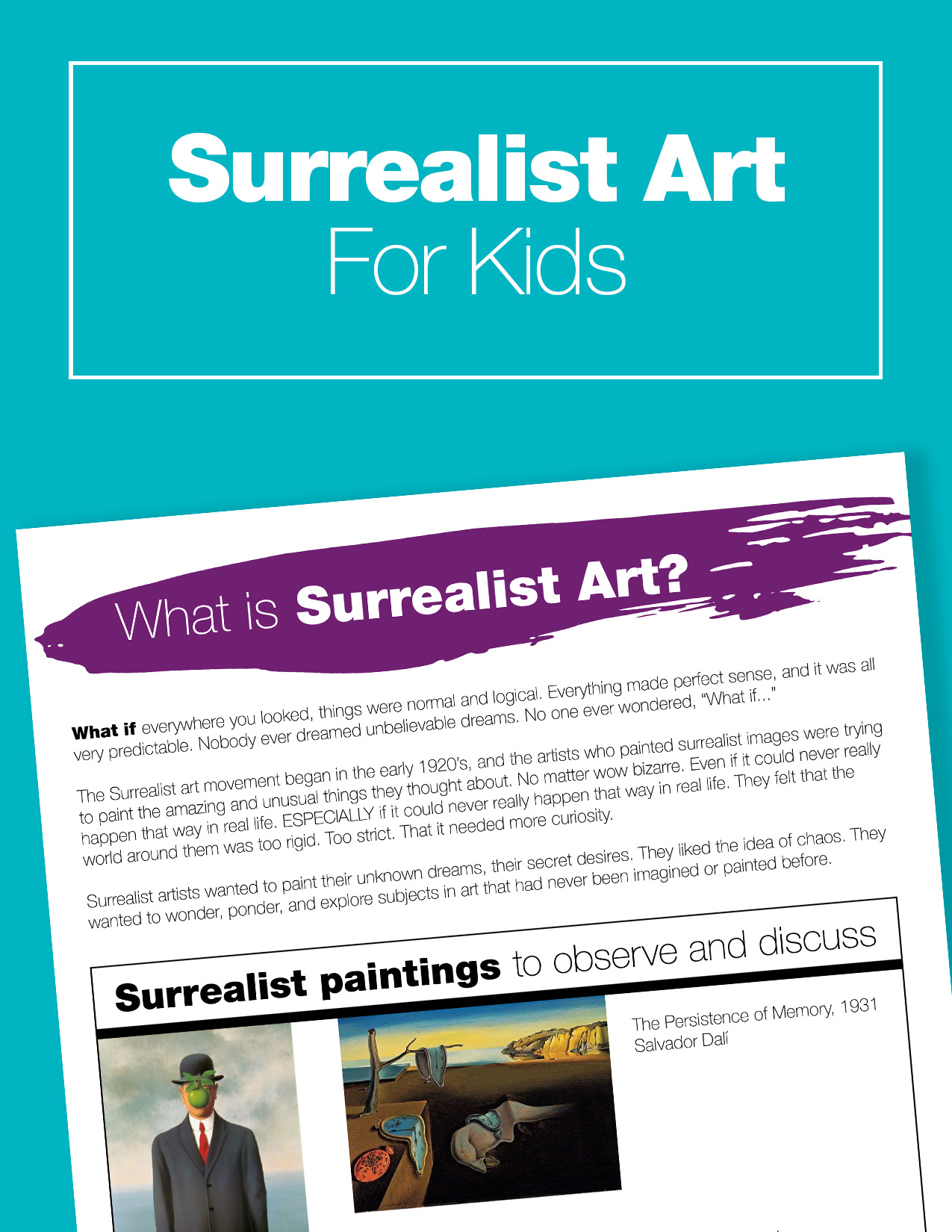 Free printable guide to surrealist art for kids. Plus, you'll get access to a great resource library full of fun art history materials. Art history for kids... it's never too early to introduce the classics.