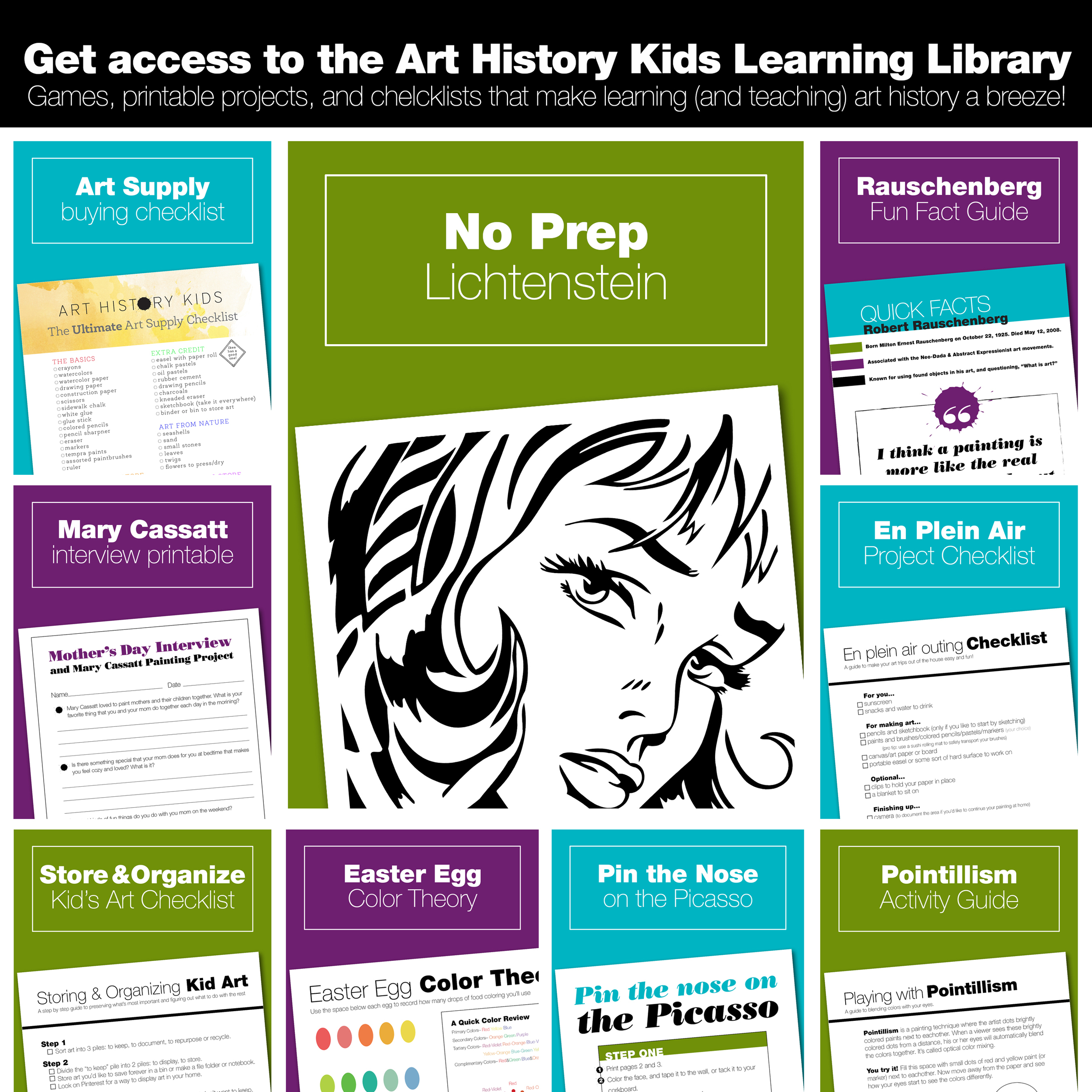 Join the Art History Kids mailing list to get instant access to art history printables, games, and checklists that make learning about art history with your kids fun and easy.