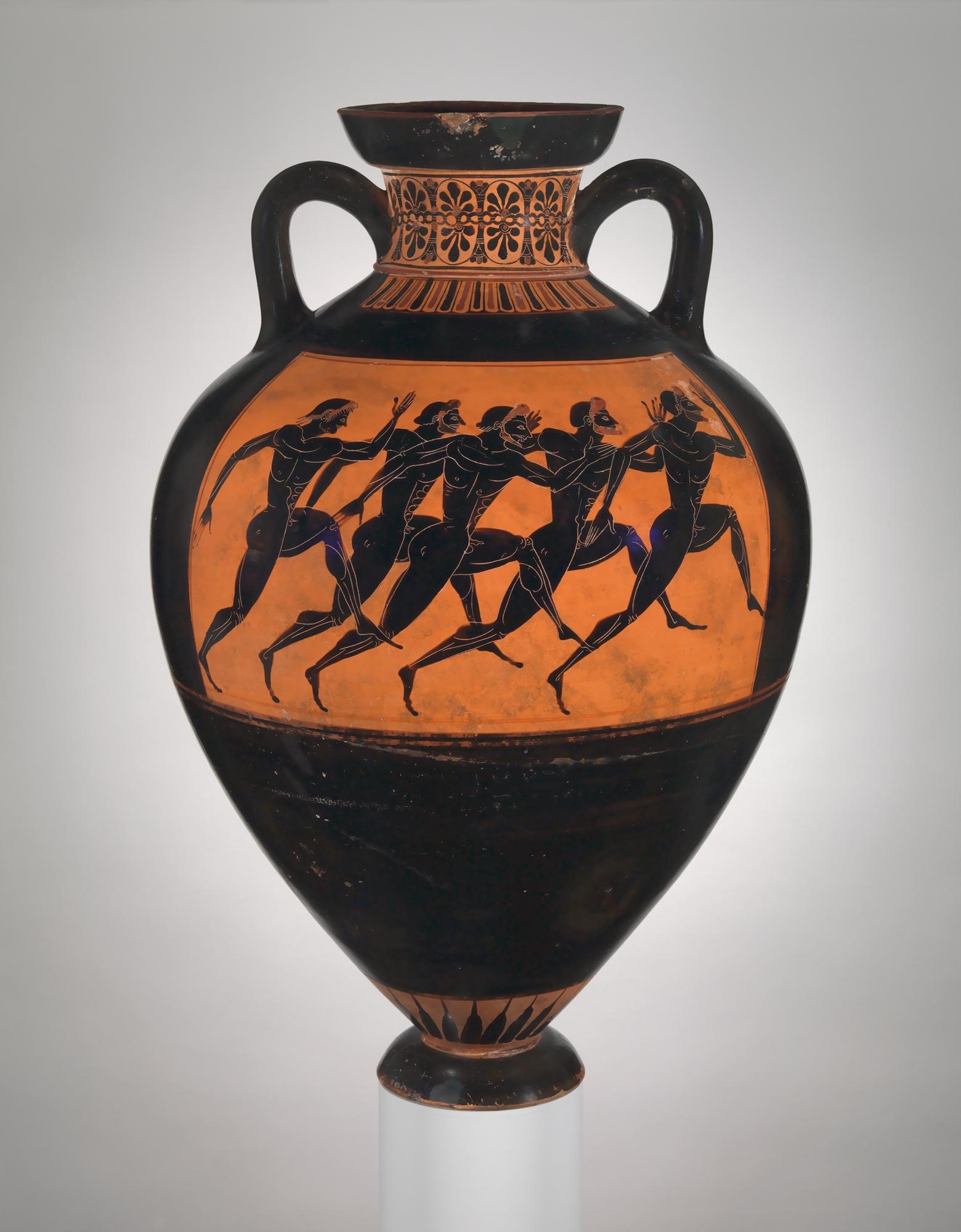Terracotta Panathenaic prize amphora  Attributed to the Euphiletos Painter, 530 BC