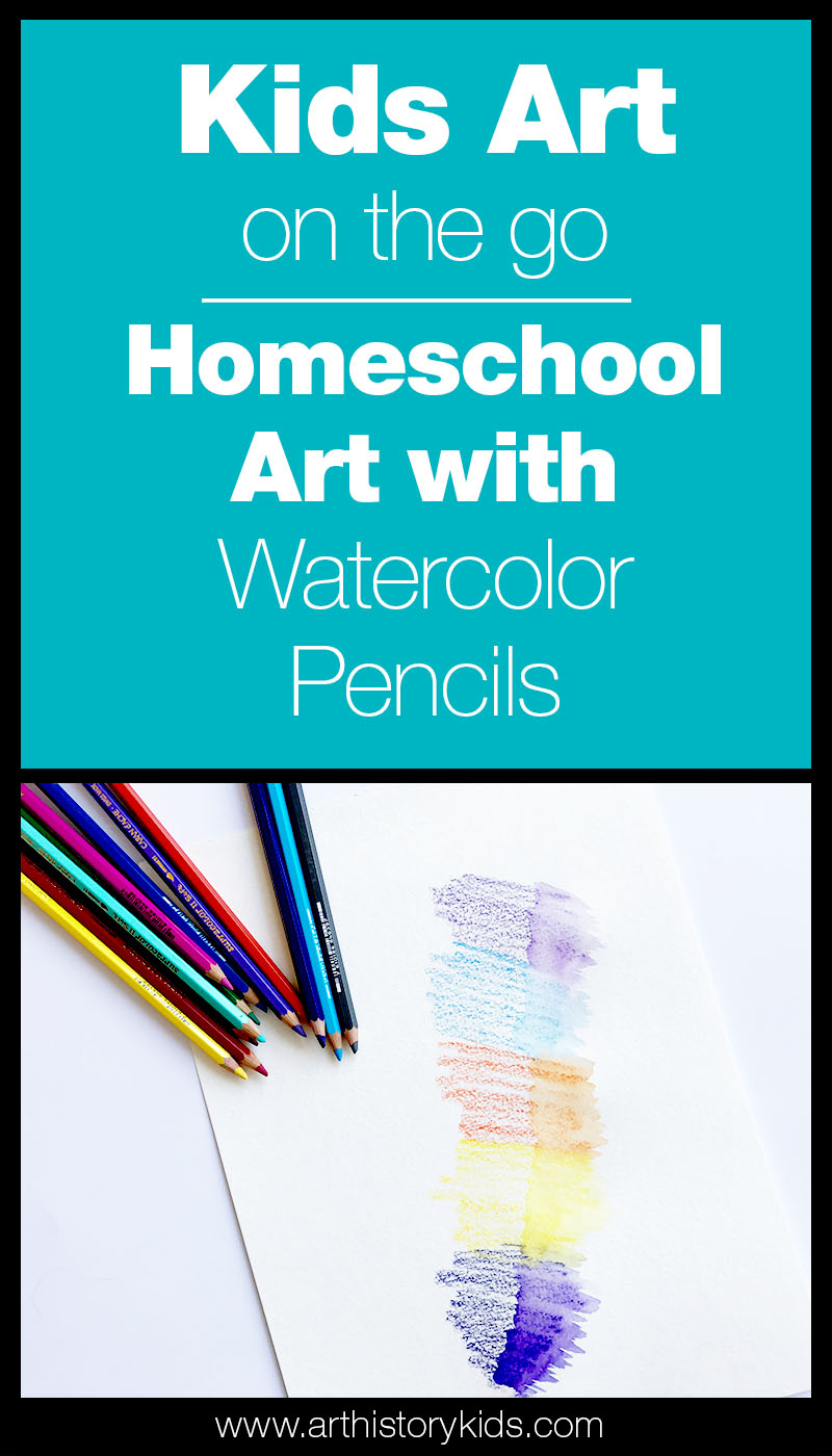 Homeschool Art that can go anywhere with you! How to use watercolor pencils for art on the go with kids.