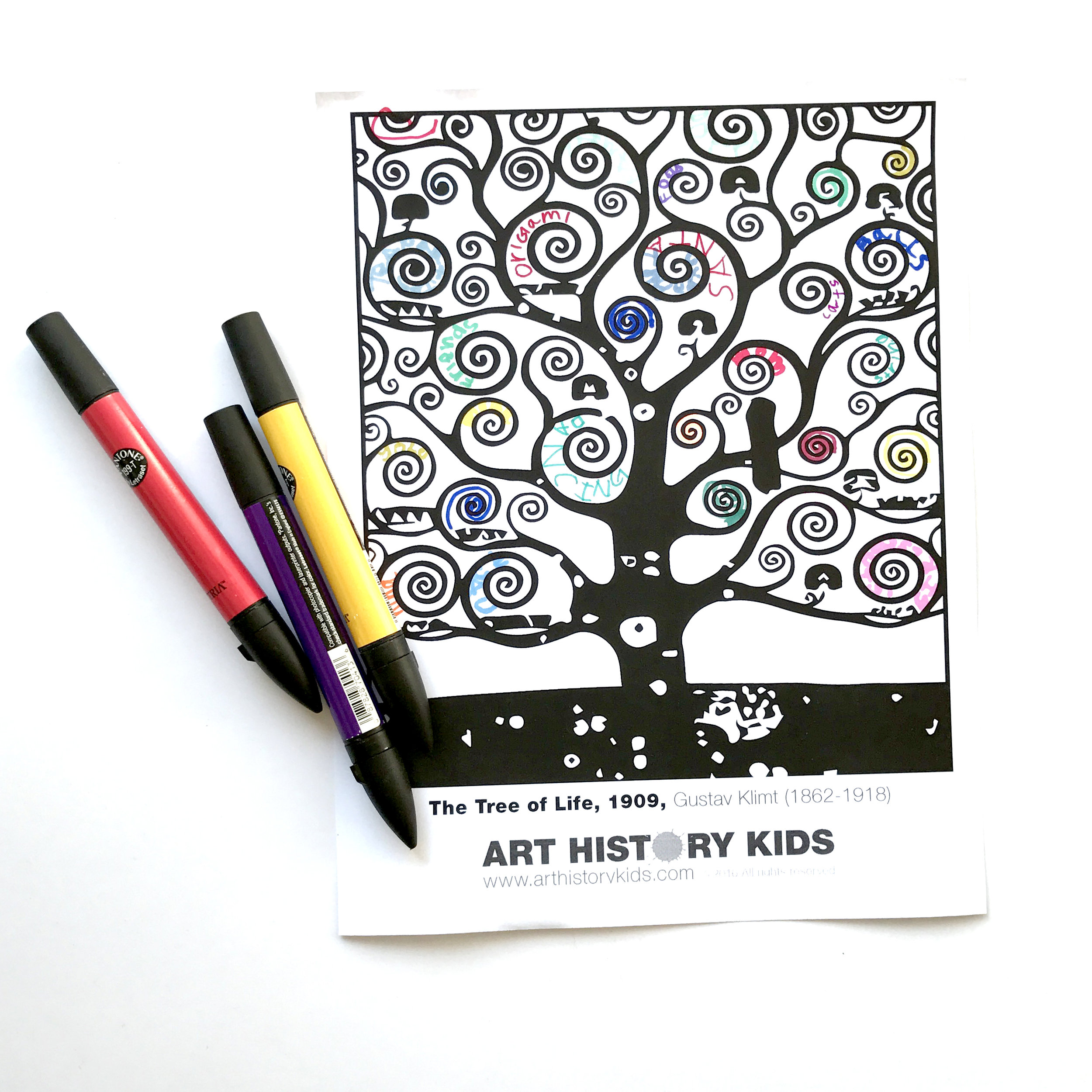 Gustav Klimt art history project for kids. Free printable activity!