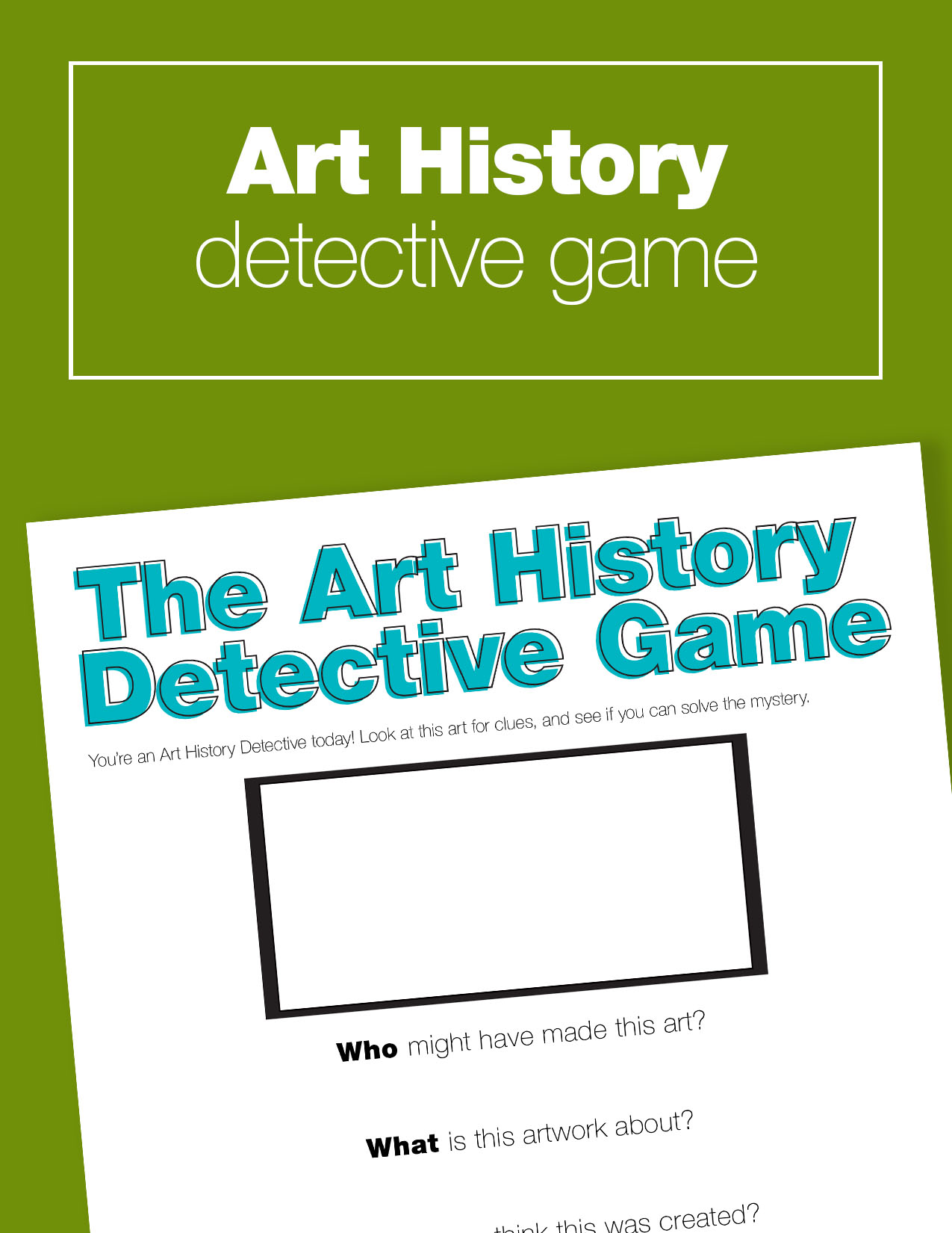 Free art history game for kids. Download the guide and play the Art History Detective Game!