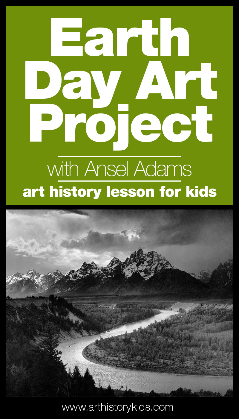 Celebrate Earth Day with an Ansel Adams art history lesson and activity for kids!