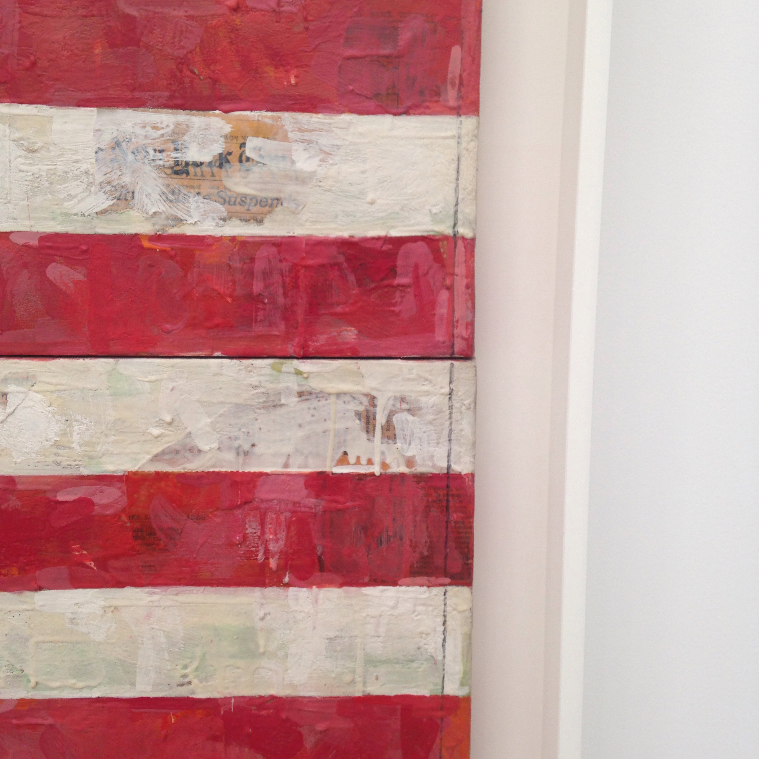 Jasper Johns, Flag (detail), 1967, encaustic and collage on canvas (three panels)