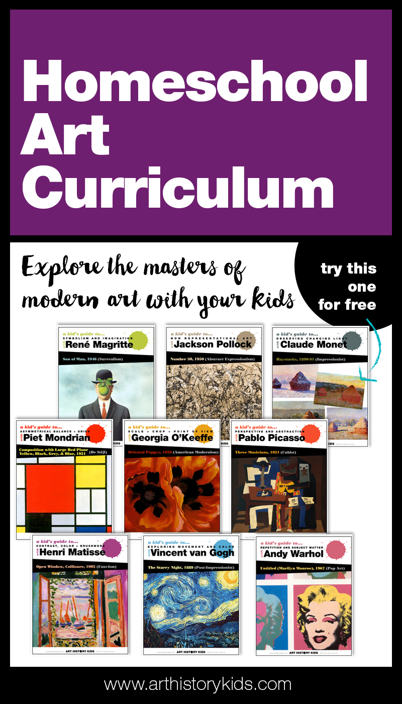 A complete year-long homeschool art curriculum that combines art appreciation and art history with open ended project ideas.
