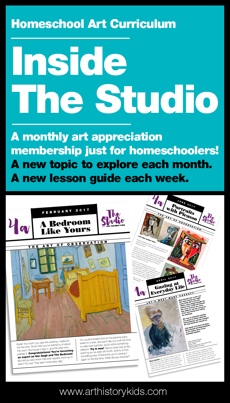 Homeschool art curriculum that incorporates art appreciation, art history, and hands on art activities!