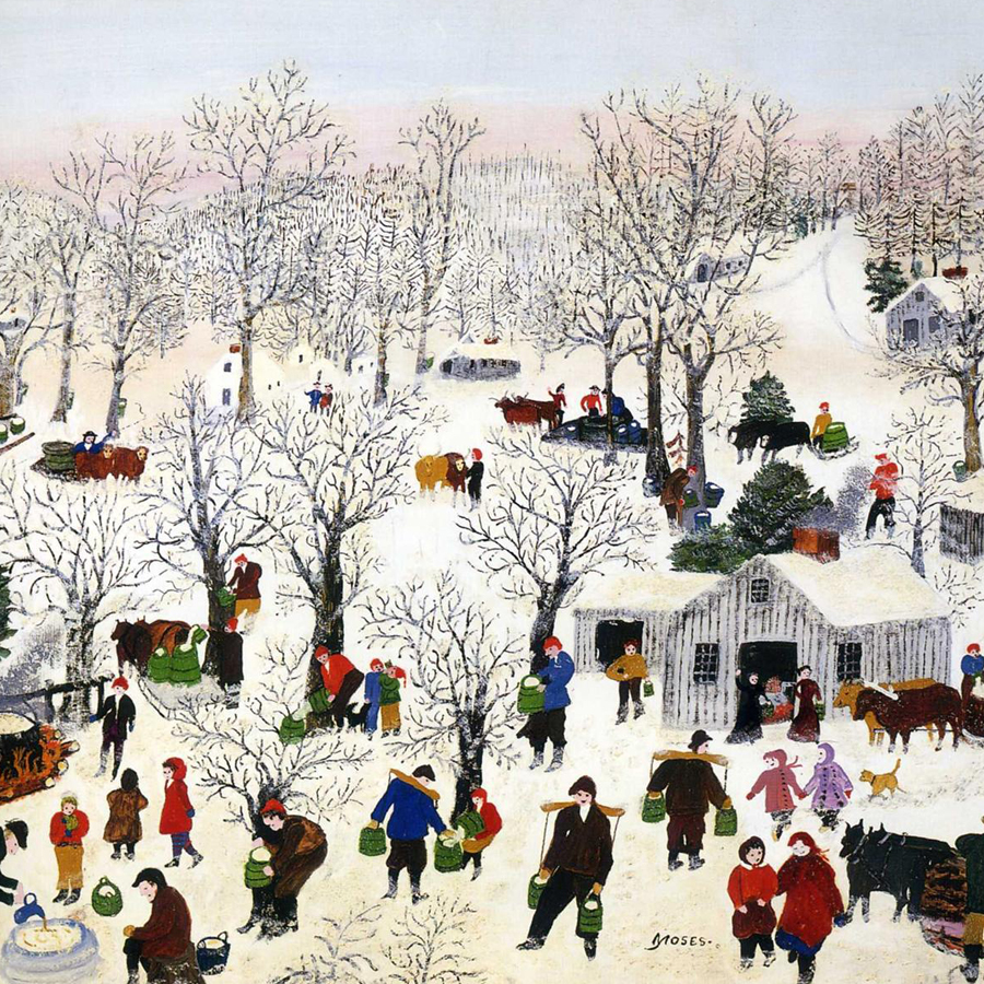 Grandma Moses,   Sugaring Off,  1955 // December 2017
