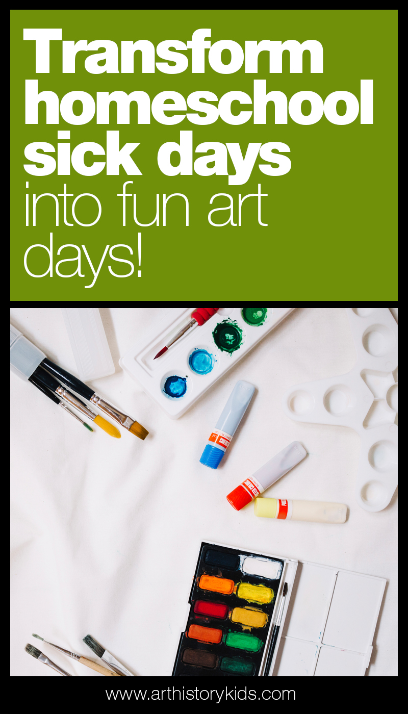 Turn your homeschool sick day into a fun art day! No need to cancel school when your little one has the sniffles. Pull out these fun project ideas and use the day to get creative!