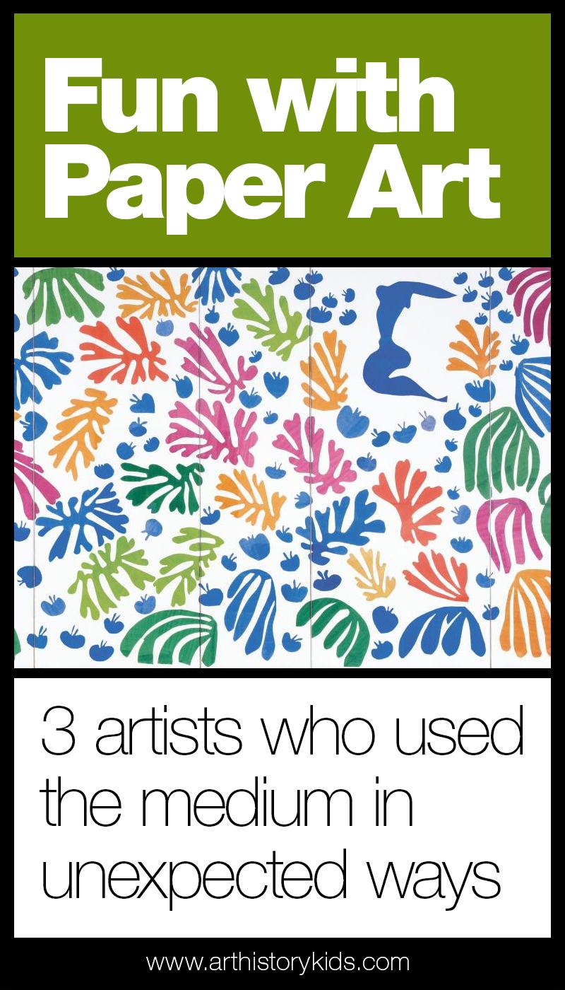 Paper art for kids - art history homeschool curriculum and lesson plans covering Henri Matisse, Robert Rauschenberg, and David Hockney
