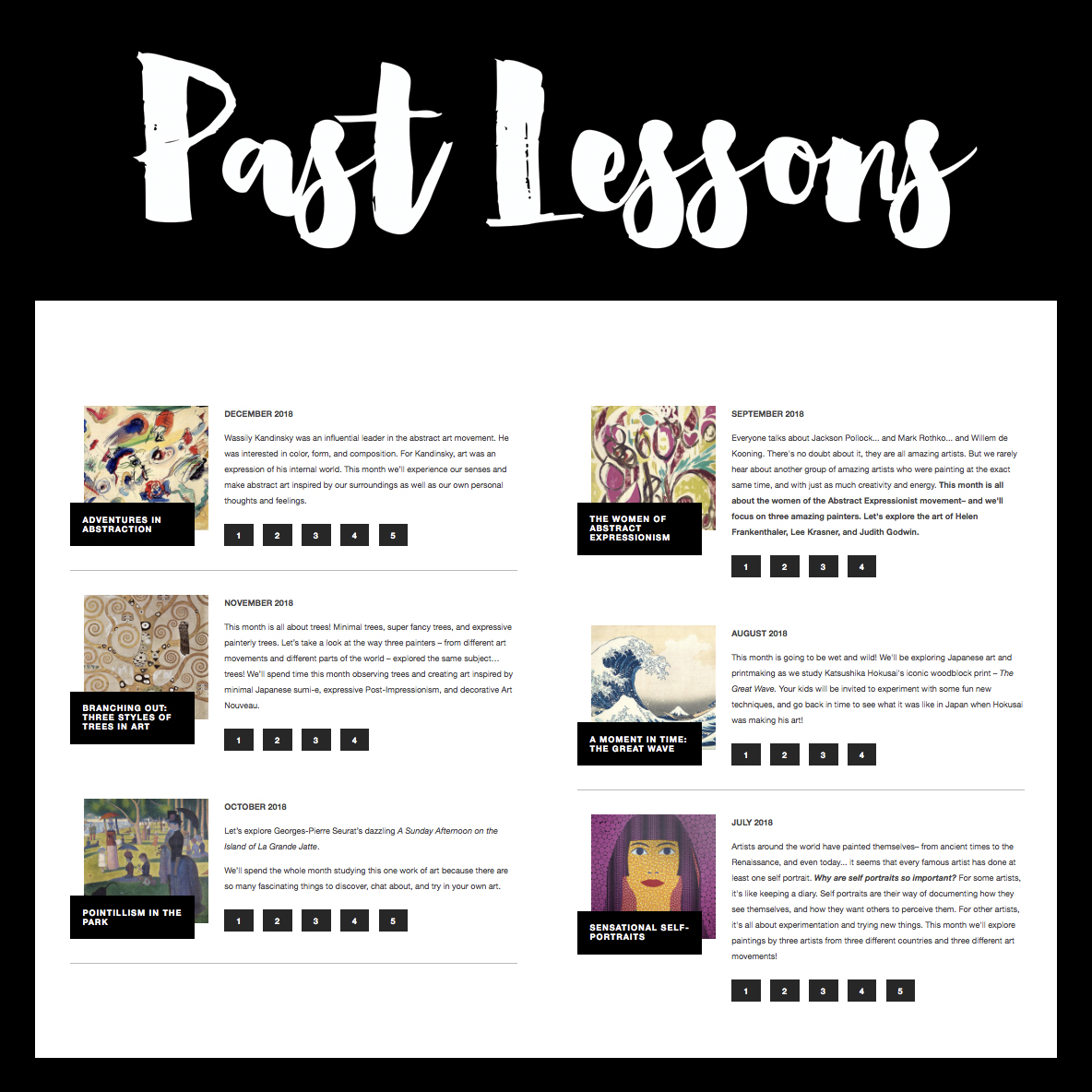 Previous lessons from the past six months! -