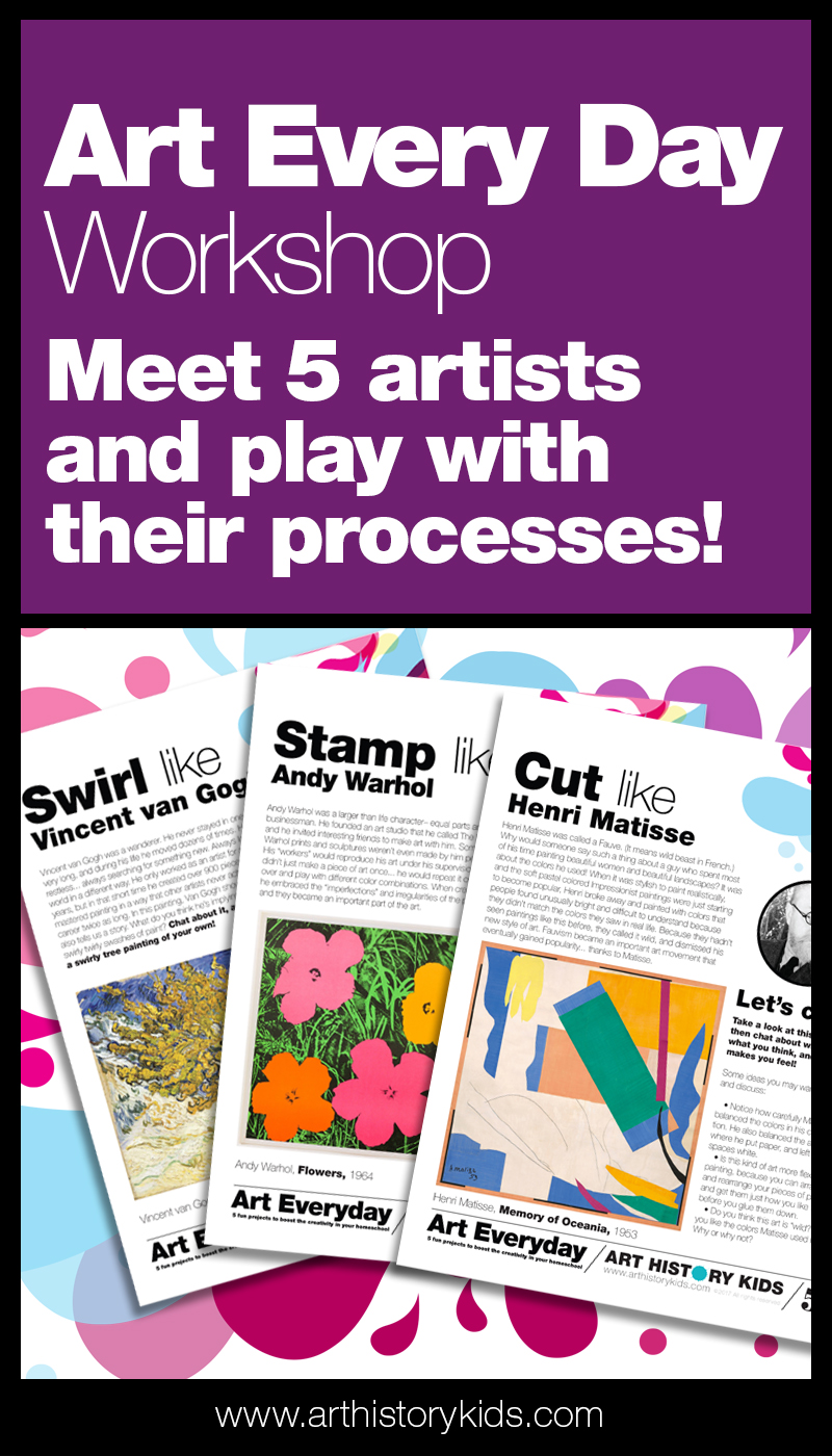 Easy art lesson plans. Homeschool art activity ideas. Art projects for kids.