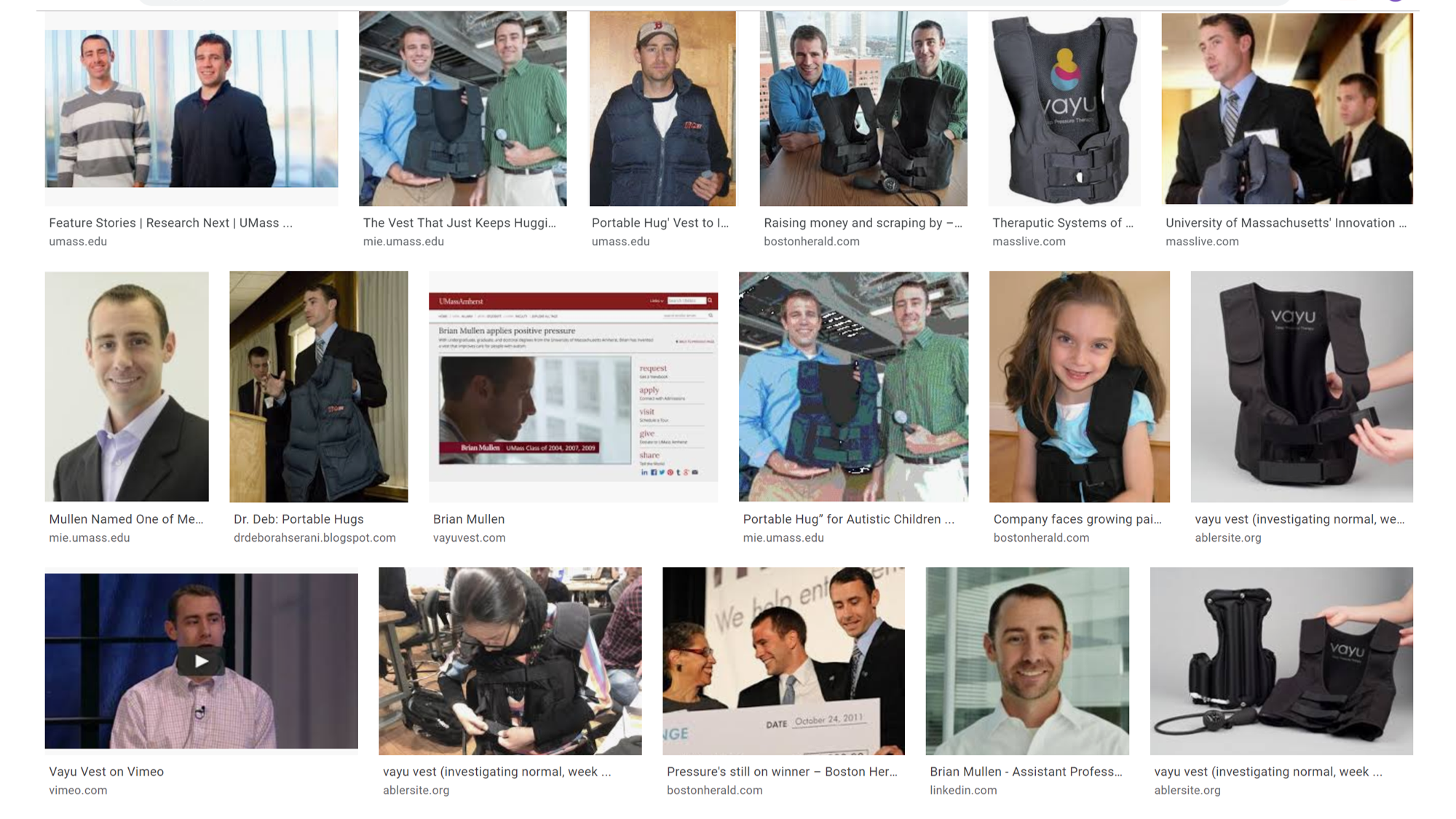 The journey in photos: - The image is a screen capture of a google image search. It capturs the evolution from first prototype (top row third from the left), UMass business plan winning (top row right), to winning MassChallenge (bottom row middle) and selling at American Occupational Therapy Conference (bottom row second from left).