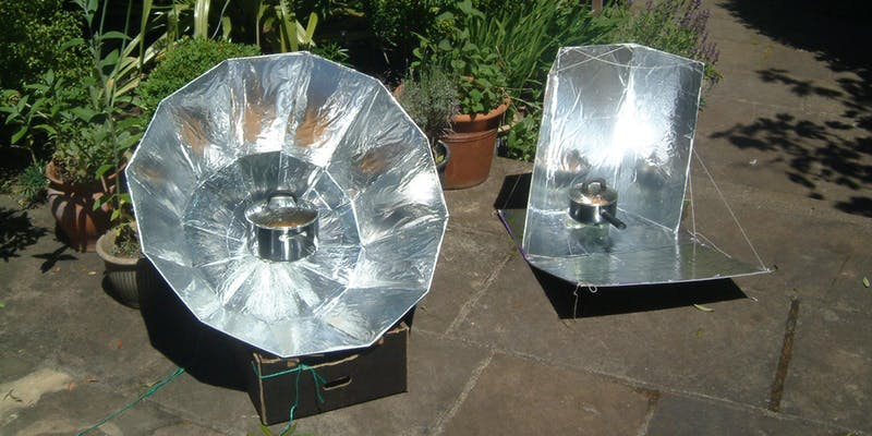 Make a DIY Solar Oven - 10.00 - 12.30; United Reform ChurchBuild a simple solar oven! – on a clear, sunny day you will be able to cook pasta or make tea. This workshop is the opportunity to build a solar oven from an estate agent's board and aluminium foil. Participants should be a minium age of 14 unless signing up with an adult.