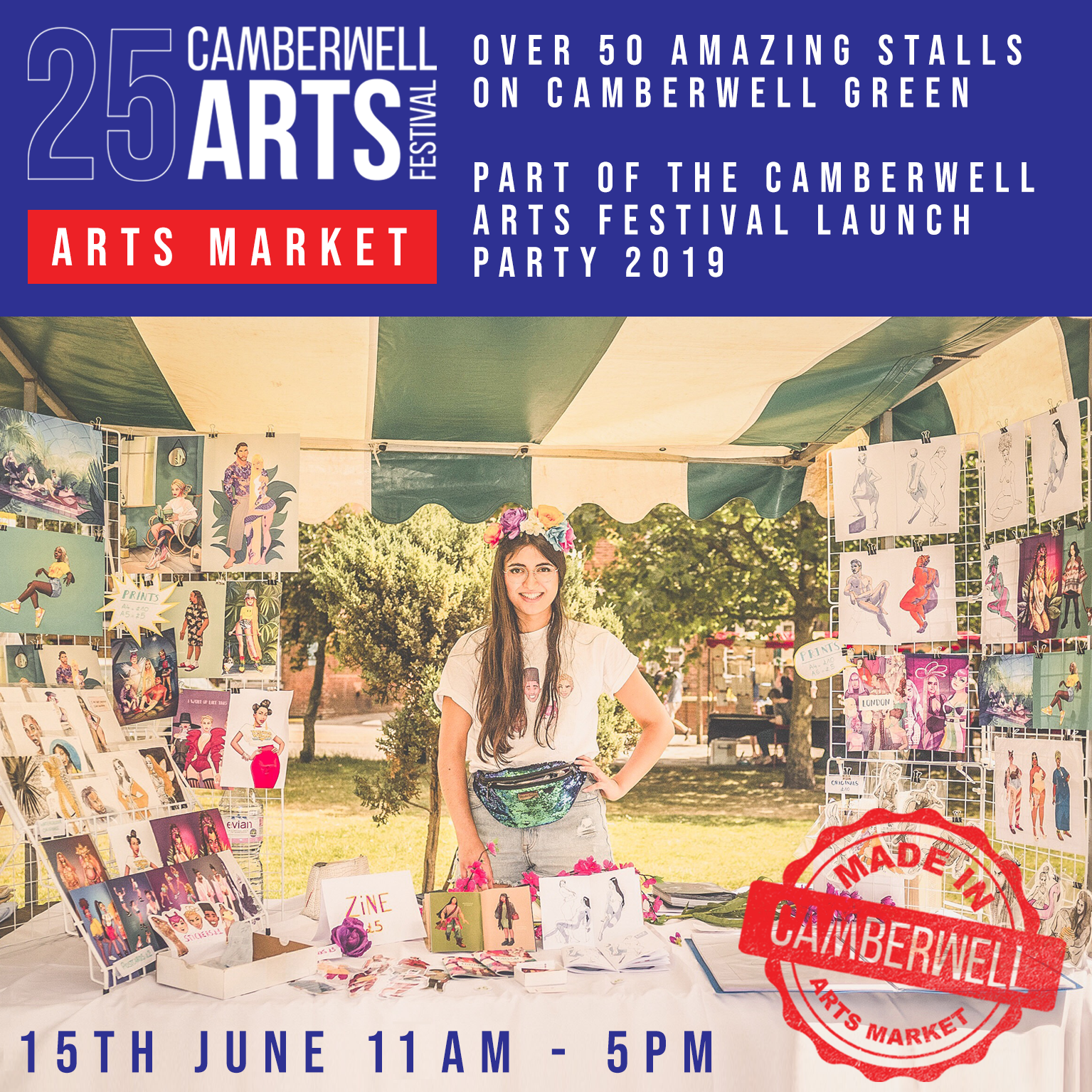 Made in Camberwell Arts Market - 11.00 - 17.00Camberwell Green, SE5 7AFBrowse and buy from over 50 local makers, offering an exciting array of art, design and creative talent for all tastes and budgets.FREE