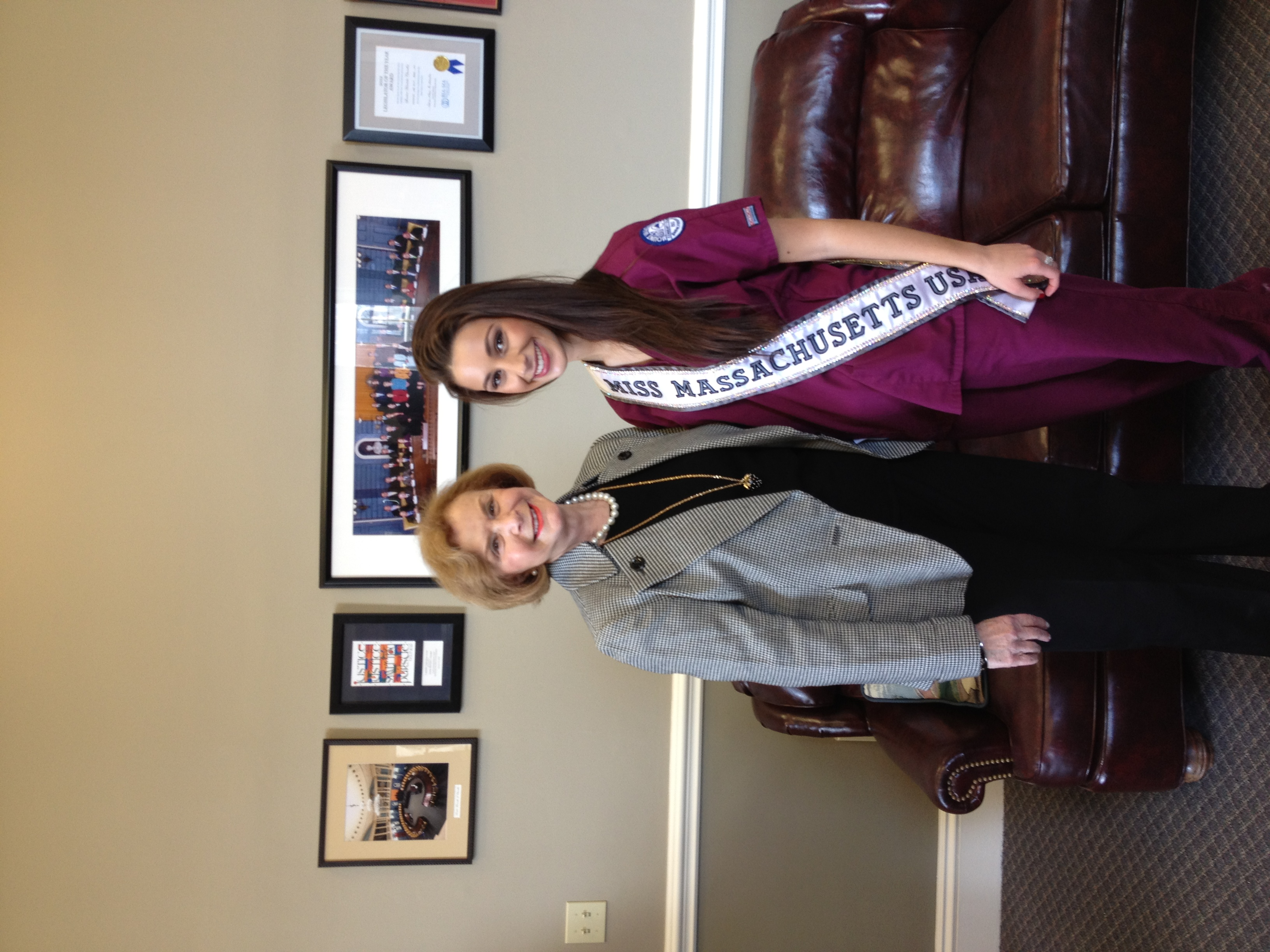 "Senate Majority Leader Harriette Chandler with ""Miss Massachusetts,"" also a dental hygiene student"
