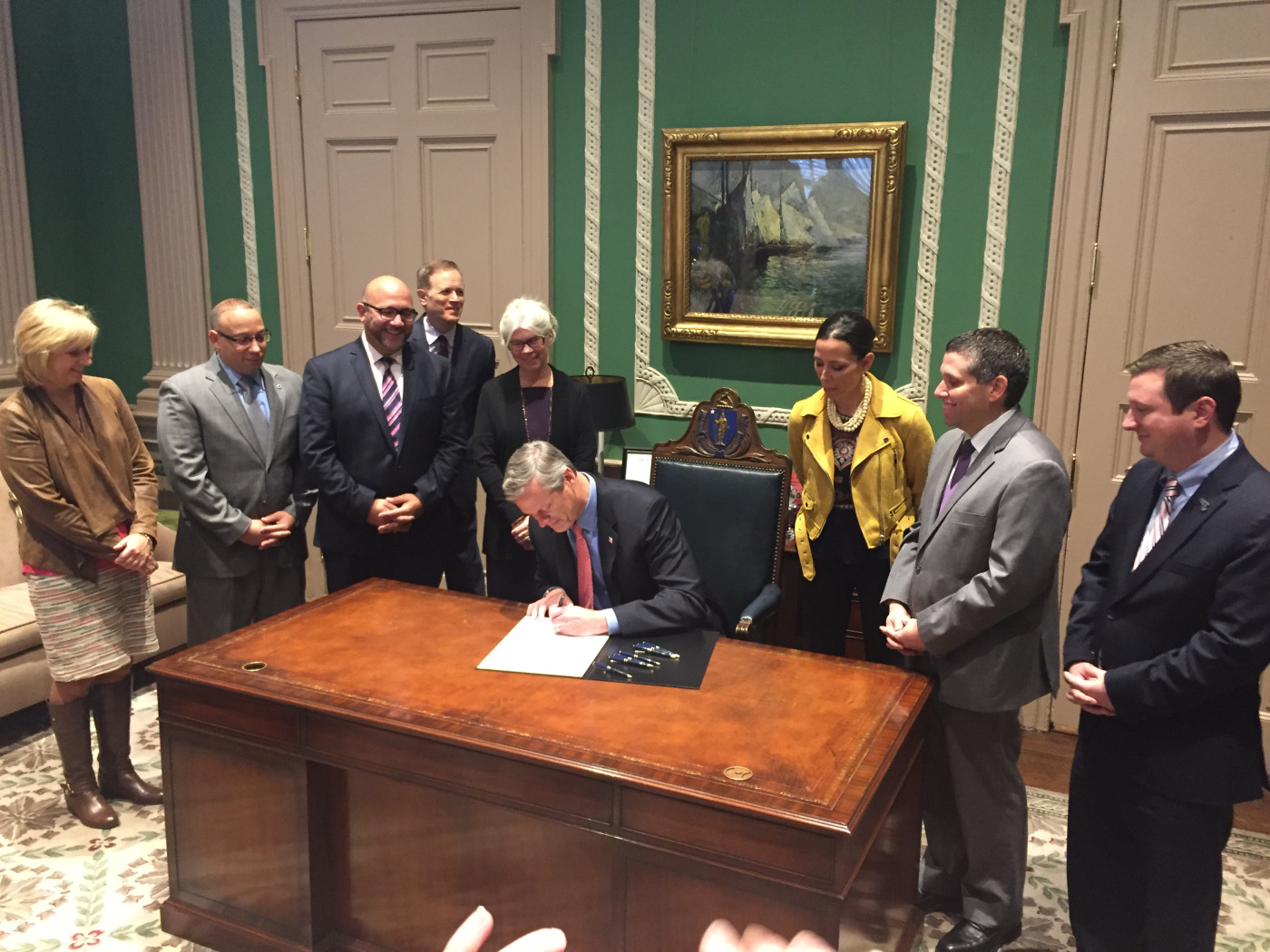 Gov. Baker signing the Language Opportunity for Our Kids (LOOK) bill into law in November 2017.  https://languageopportunity.org/look-act/