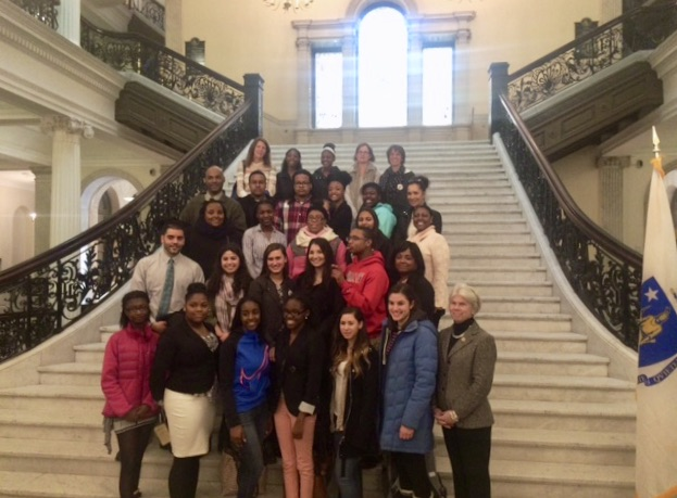 Chairwoman Peisch meets with METCO students from her district on METCO Lobby Day