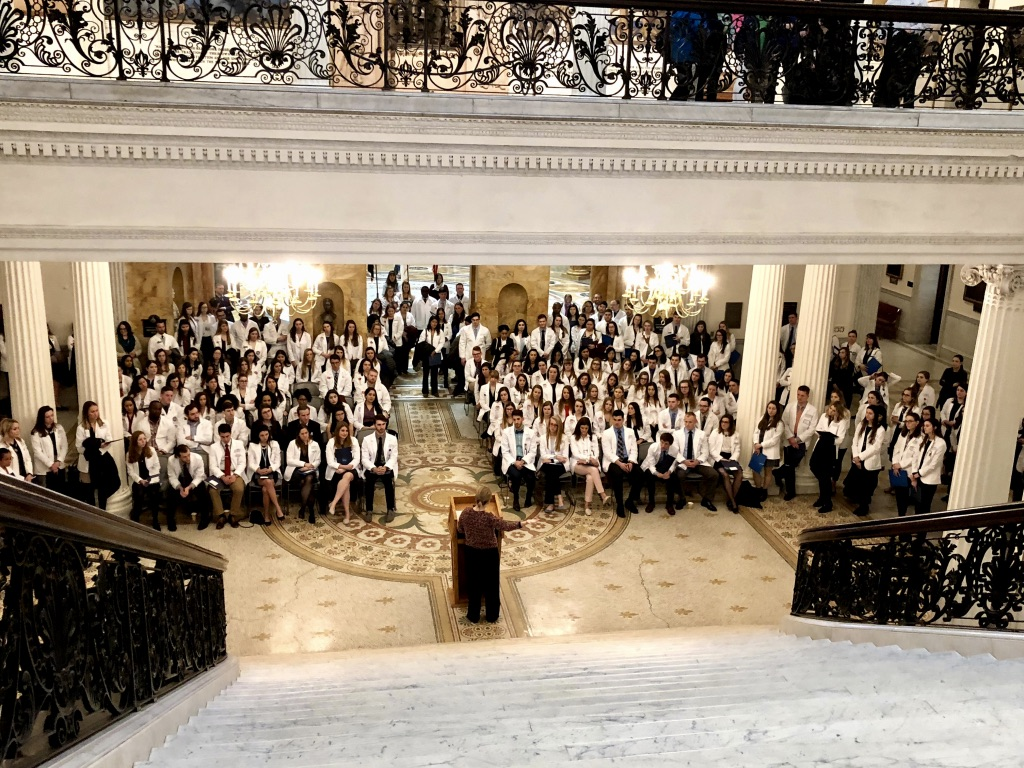 Chairwoman Marjorie Decker speaks to The Mass. Association of Physician Assistants (MAPA) as they participate in their 2019 Advocacy Day at the State House.