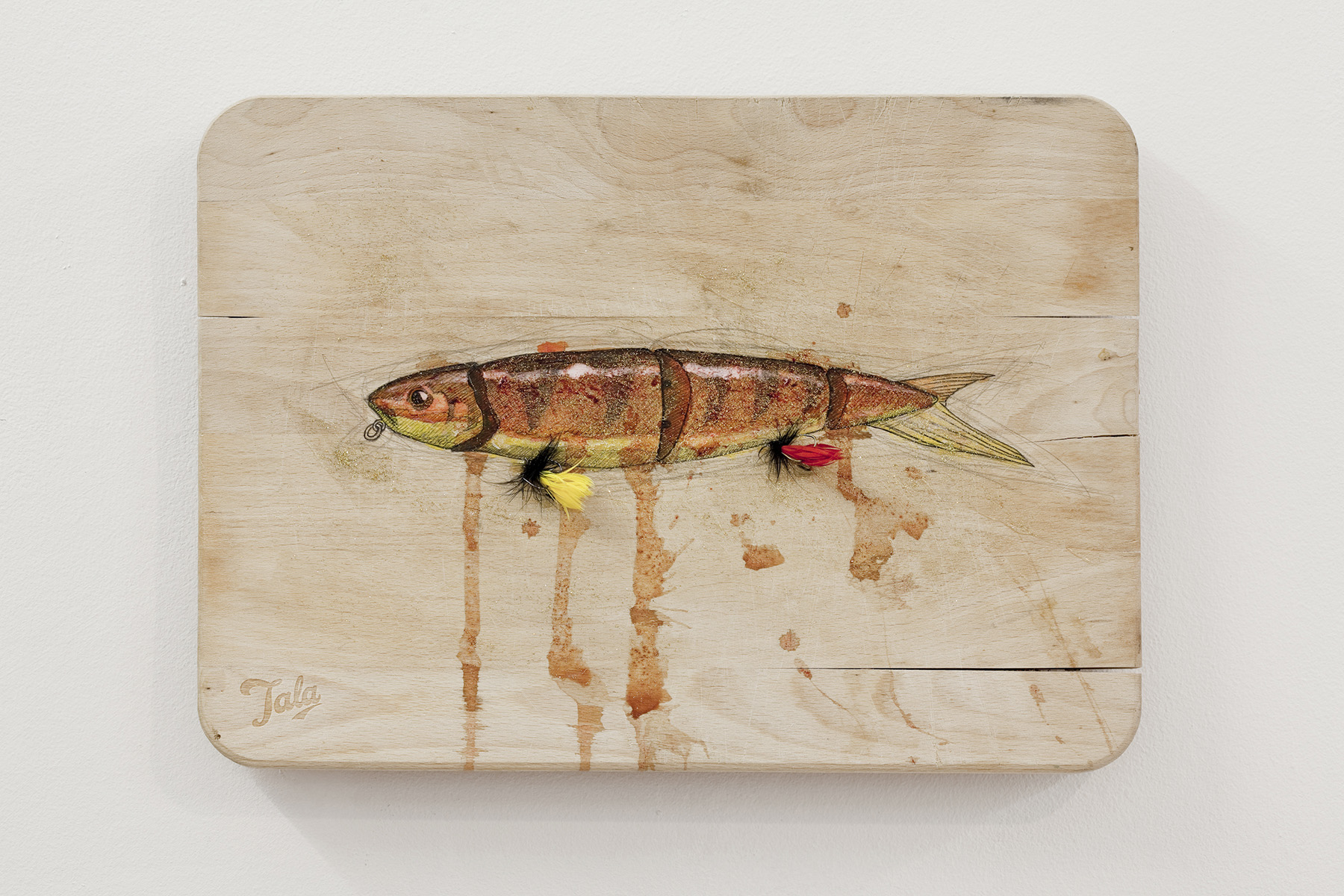 Fishing Lure: Golden Ambulance , 350x250mm, blood, pencil, ink, fishing hooks, glitters on used chopping board from the gallery, 2013