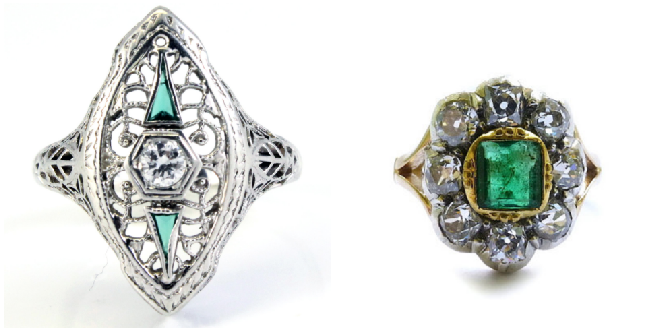 18k Art Deco Diamond Emerald Ring                          Victorian Diamond Cluster Ring