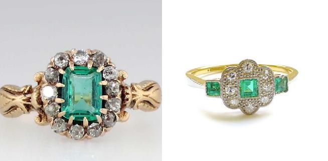 Victorian Emerald Diamond Halo Ring                     Antique Emerald Engagement Ring