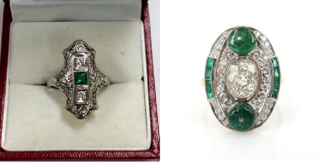 Diamond and Emerald Shield Ring                     Vintage Old Cut Diamond and Emerald Ring