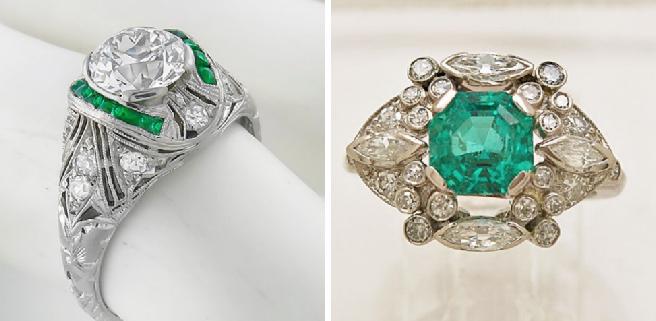 Round Brilliant Diamond Emerald Ring                      Emerald Diamond Platinum Ring